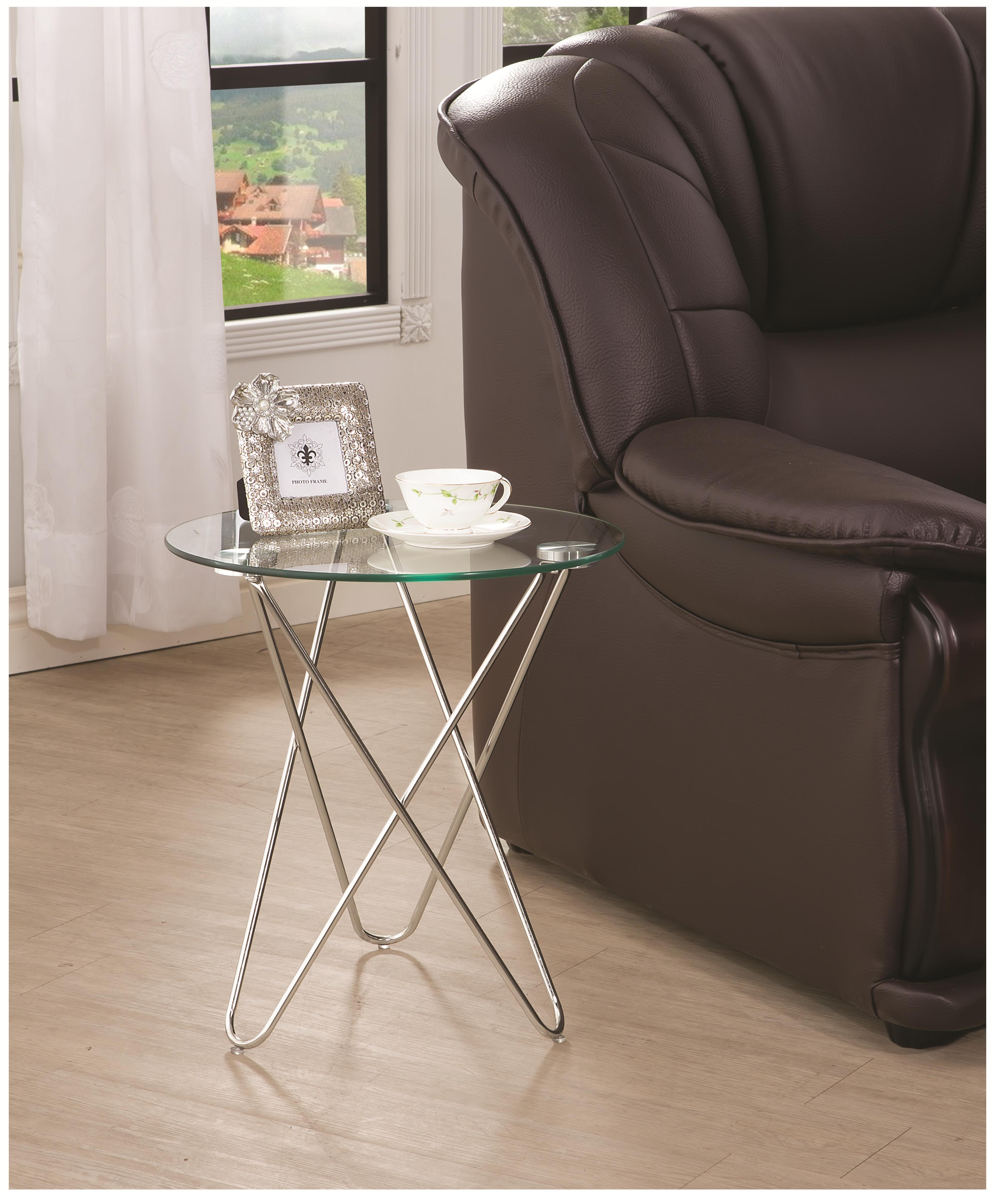 Coaster accent tables 901914 petite accent table w glass for Bright colored side tables