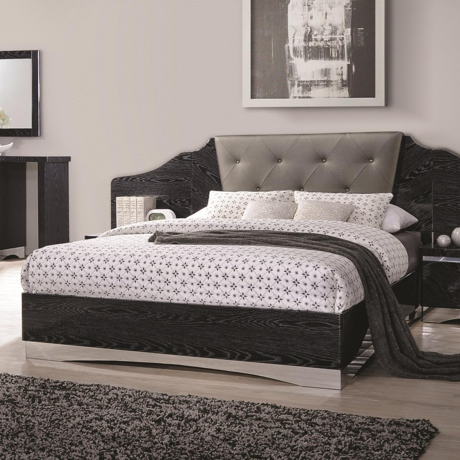Coaster alessandro queen low profile bed with upholstered for Bedroom furniture 30144