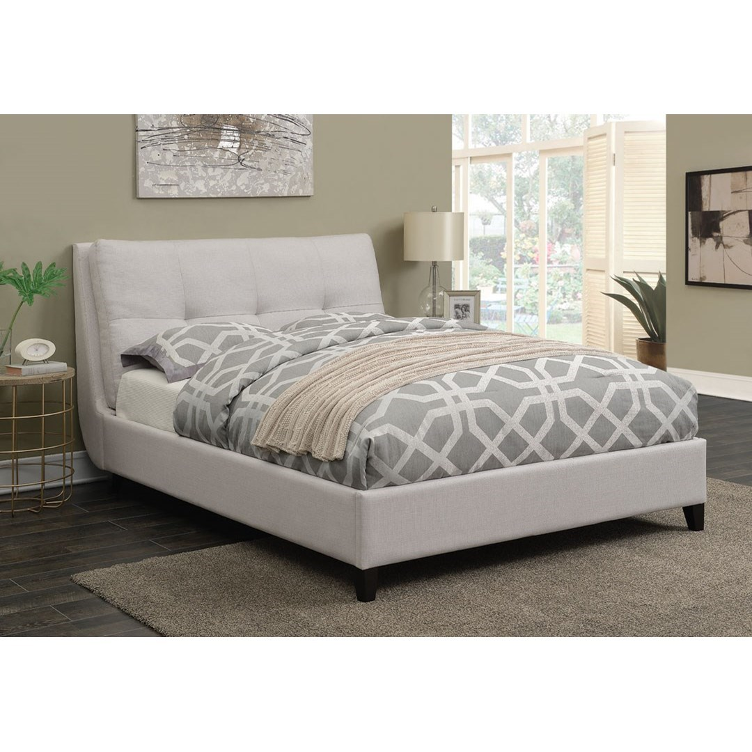 coaster amador 300698kw upholstered california king platform bed with pillow top headboard del. Black Bedroom Furniture Sets. Home Design Ideas