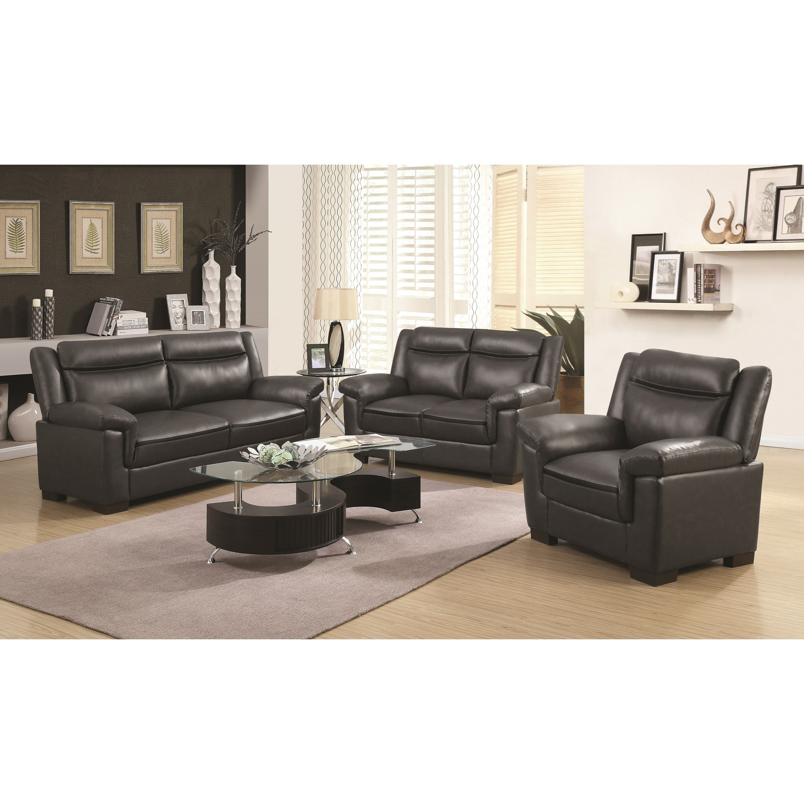 Coaster arabella stationary living room group value city for Living room furniture groups