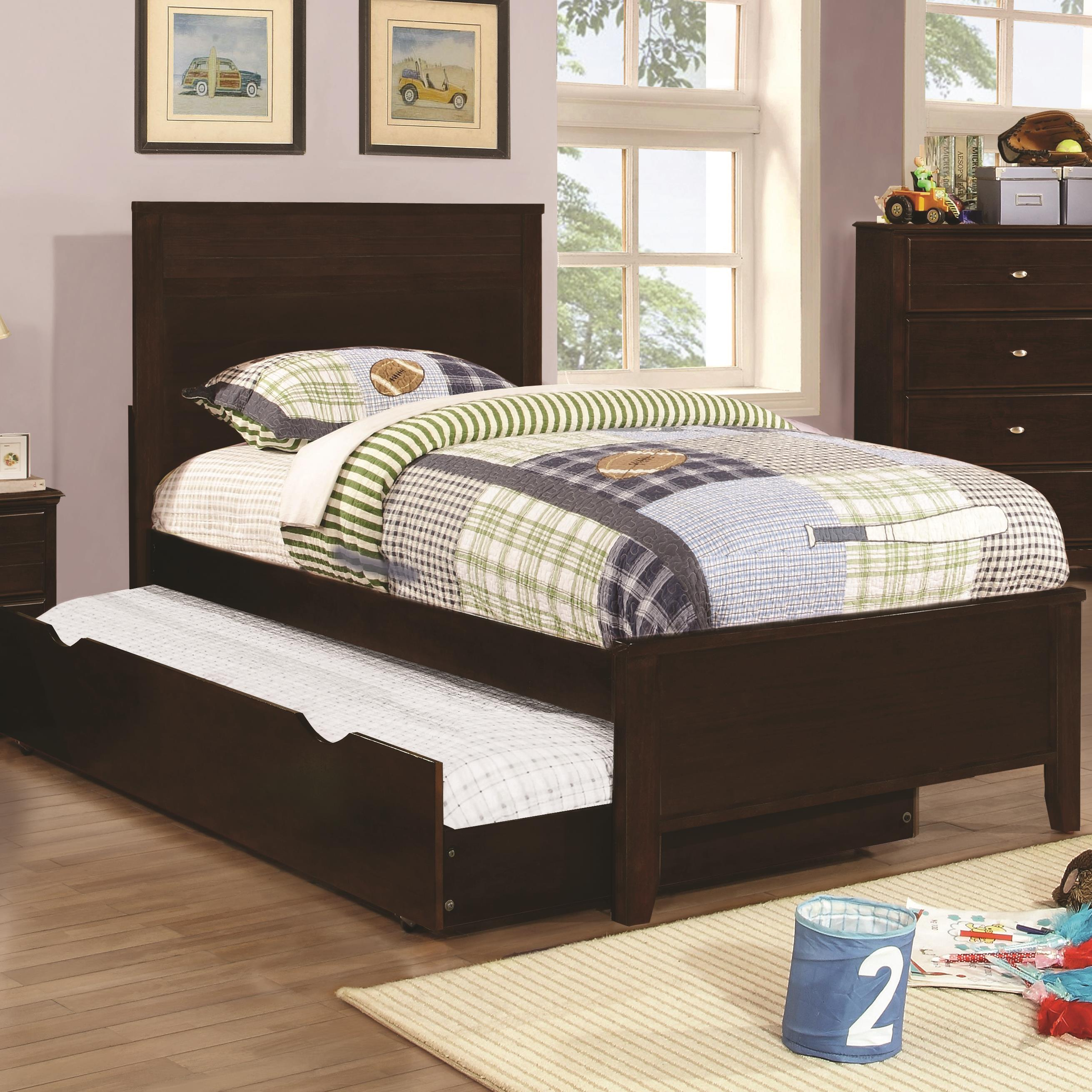 coaster ashton collection full bed with framing details with trundle value city furniture. Black Bedroom Furniture Sets. Home Design Ideas