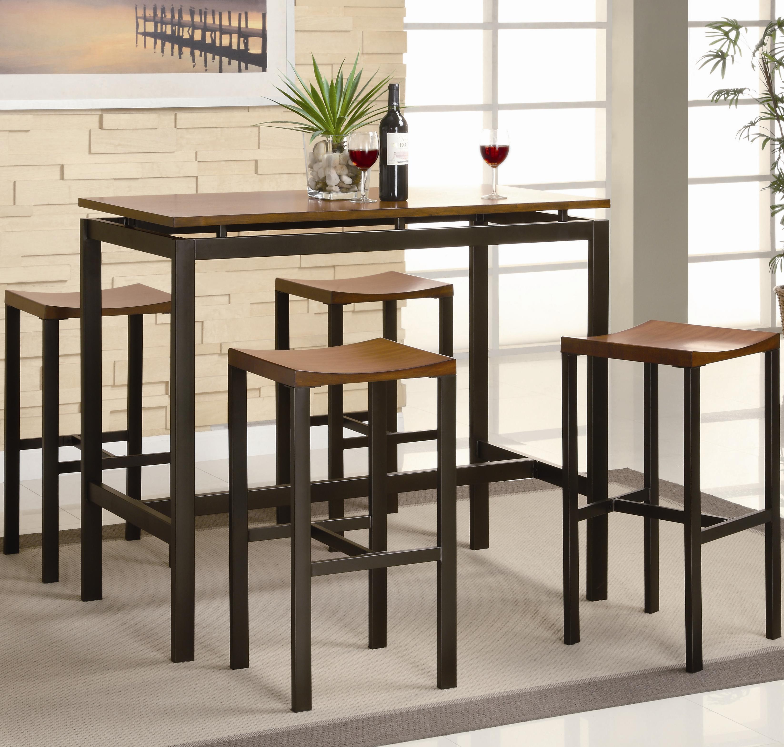 coaster atlus 150097 5 piece counter height dining set northeast factory direct pub table. Black Bedroom Furniture Sets. Home Design Ideas