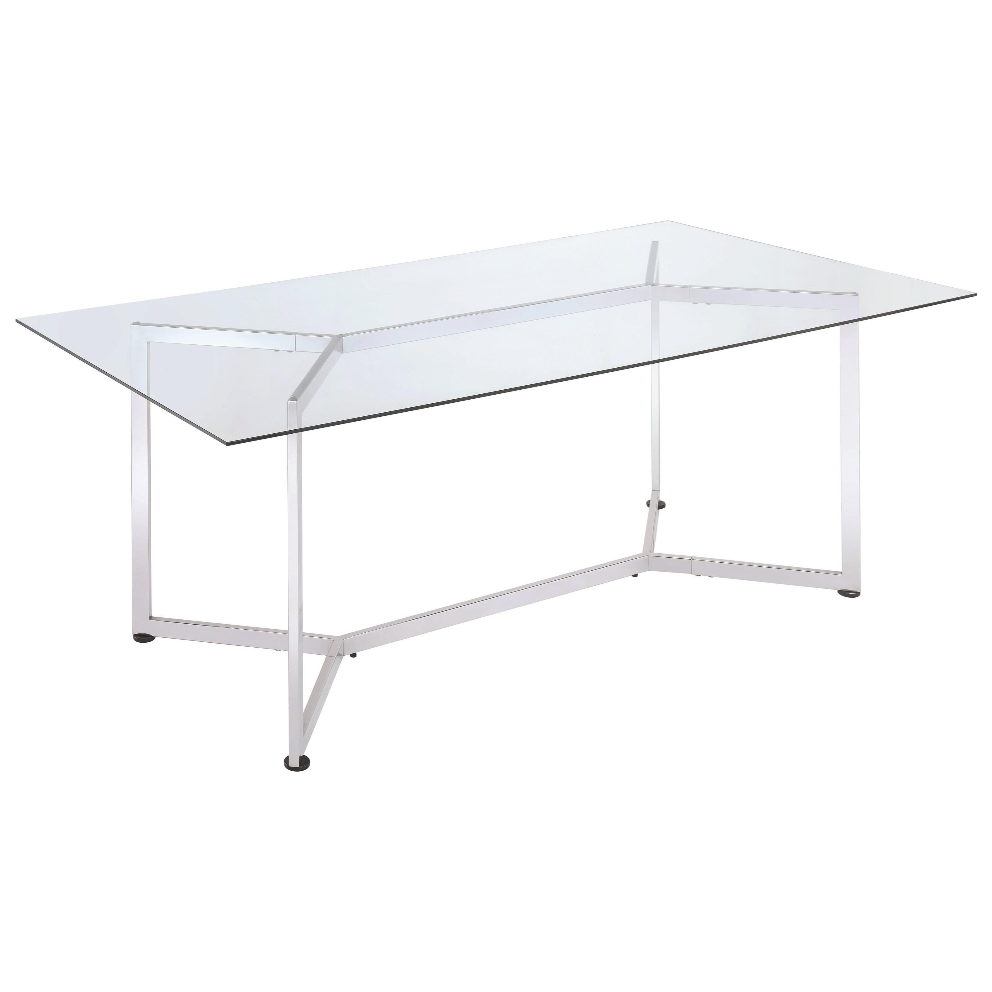 Coaster augustin 106901 rectangular glass dining table for Rectangular glass dining table