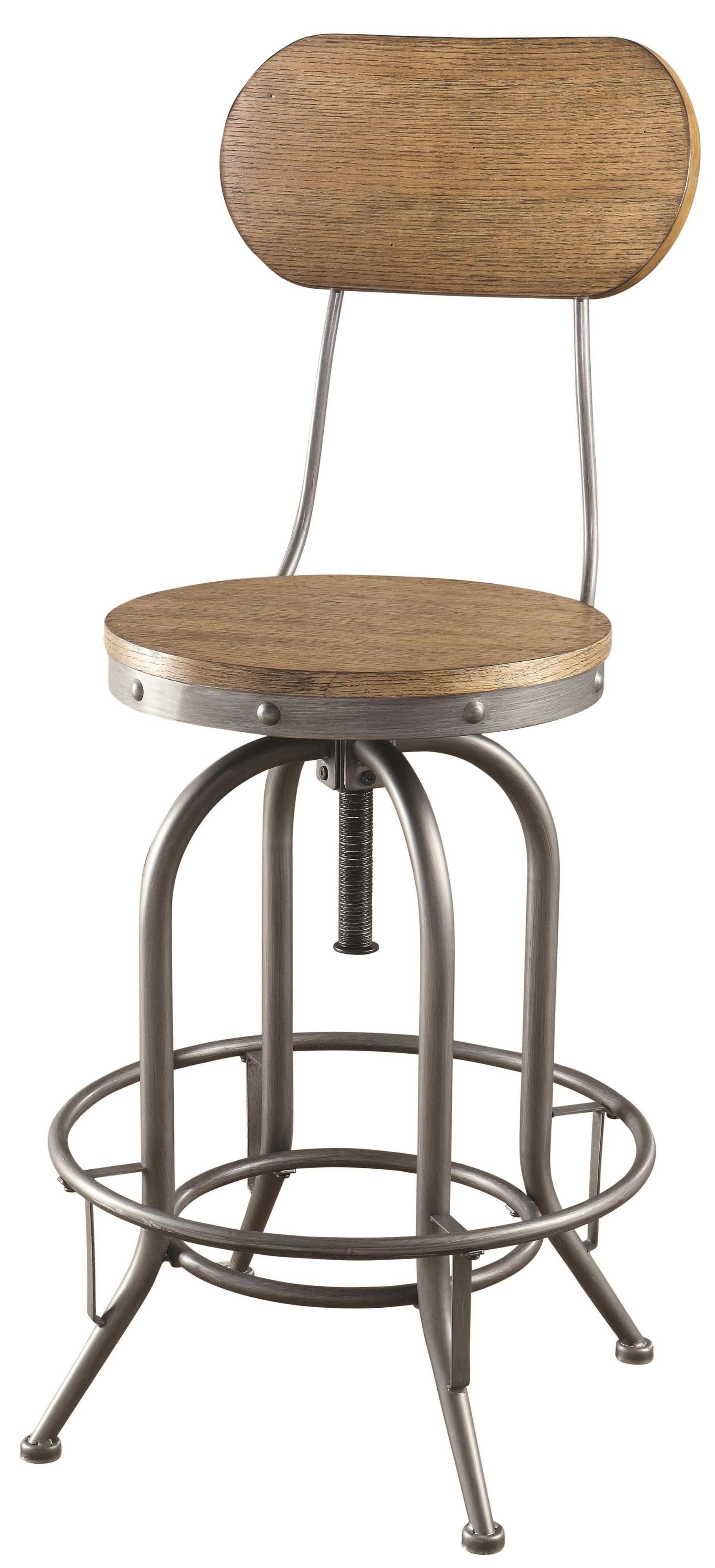 Coaster Bar Units And Bar Tables 100057 Adjustable Bar Stool With Wood Back And Seat Del Sol