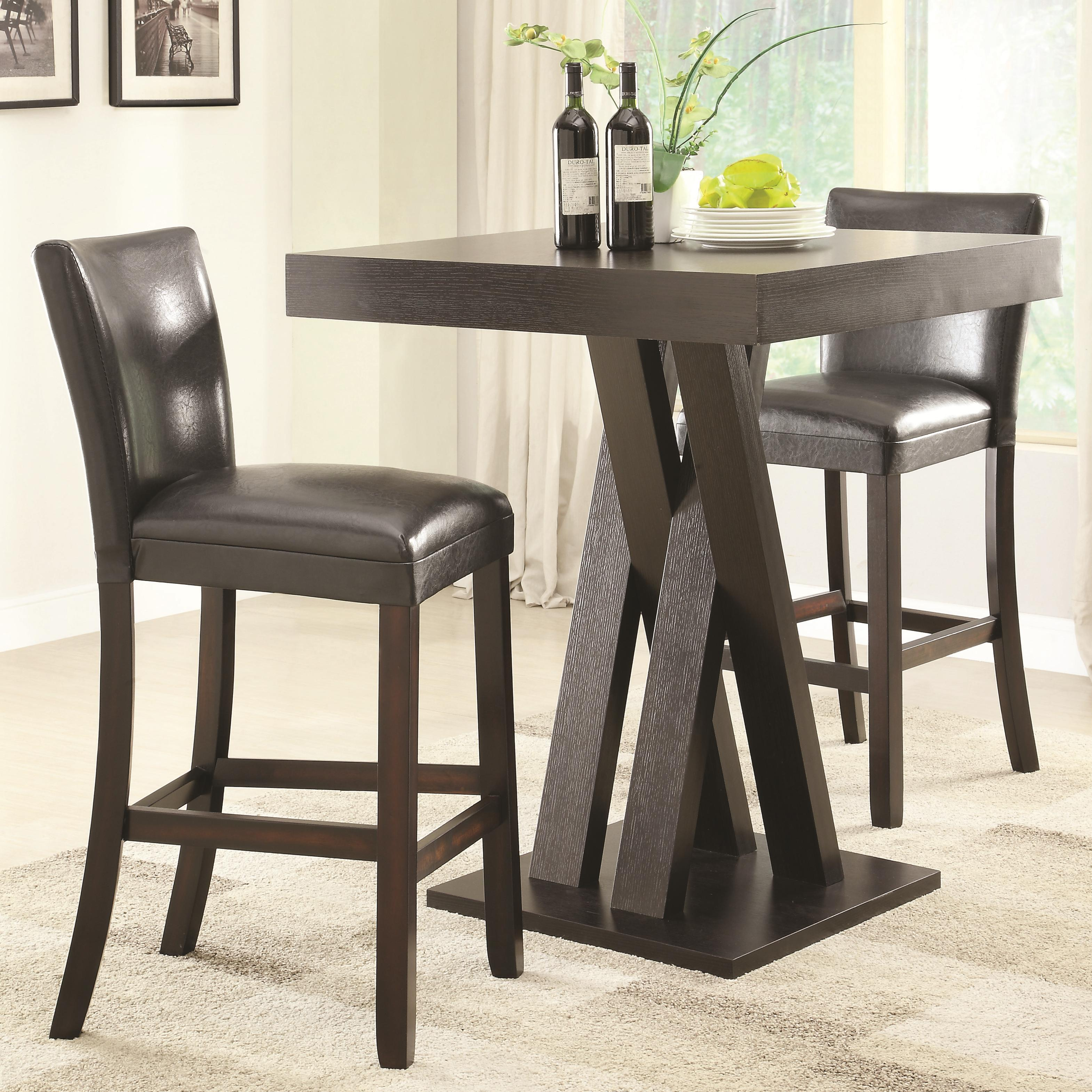 coaster bar units and bar tables three piece bar height table and stools set del sol furniture. Black Bedroom Furniture Sets. Home Design Ideas
