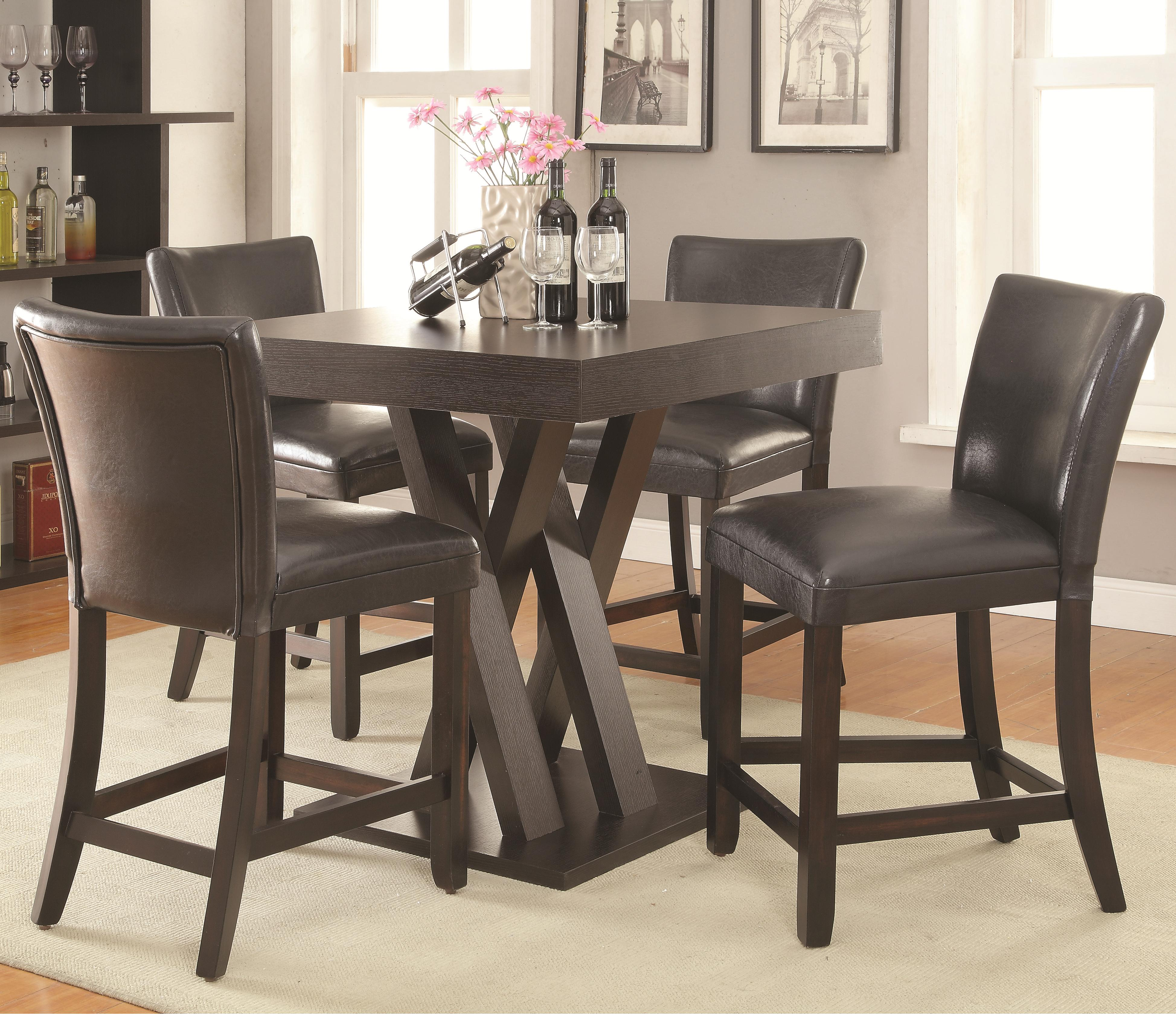 Units and Bar Tables Five Piece Counter Height Table Set with Stools ...