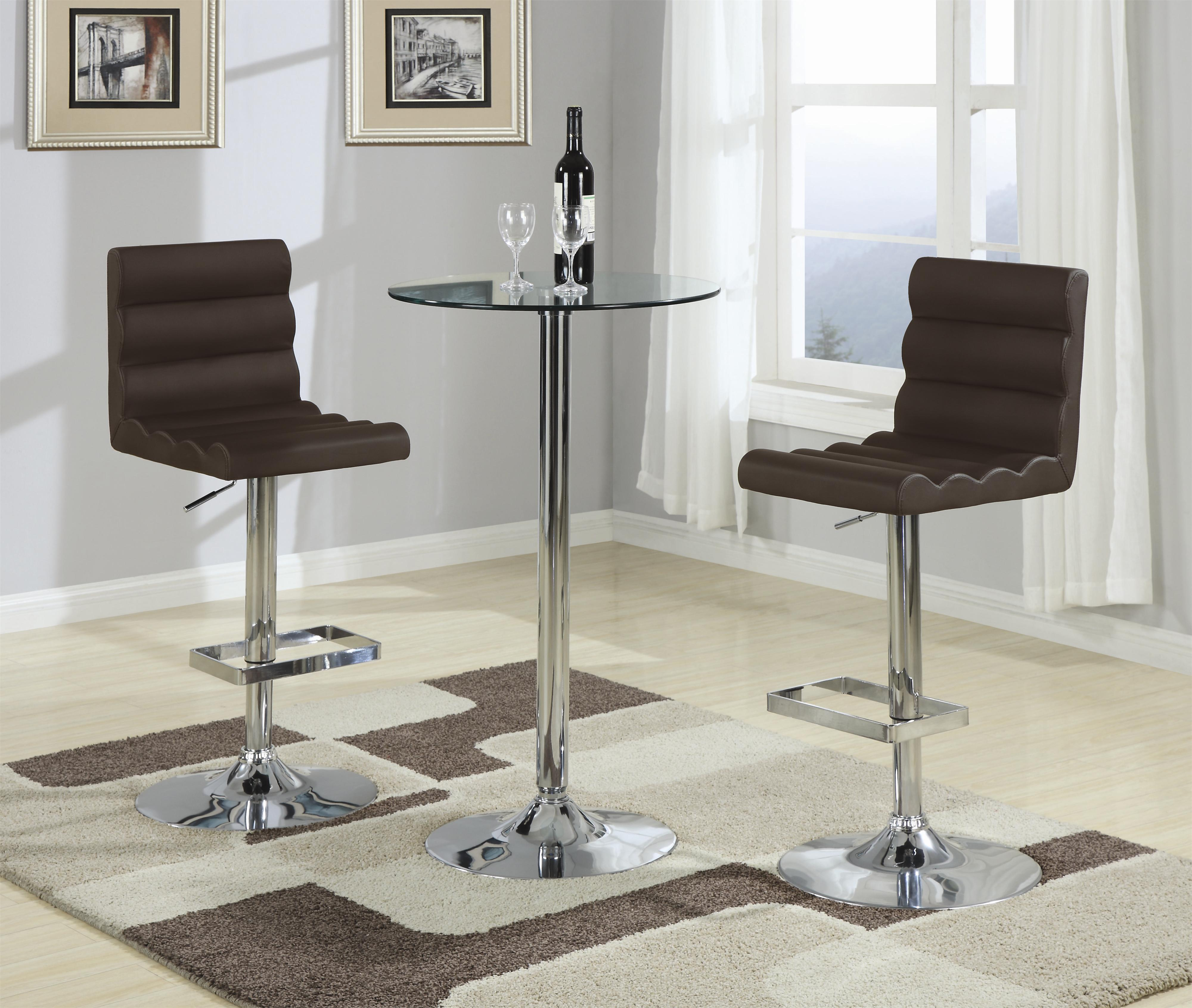 Coaster Bar Units And Bar Tables 3 Piece Bar Table With Tempered Glass Top Set Value City