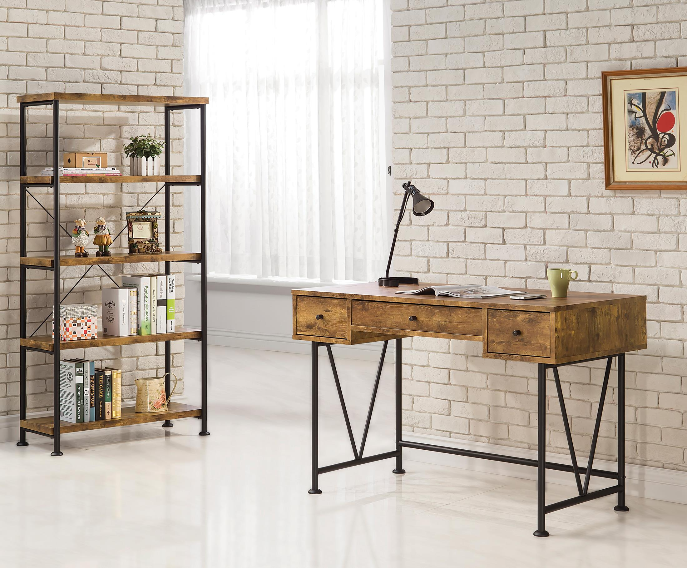 coaster barritt industrial style writing desk with 3 drawers value city furniture table. Black Bedroom Furniture Sets. Home Design Ideas