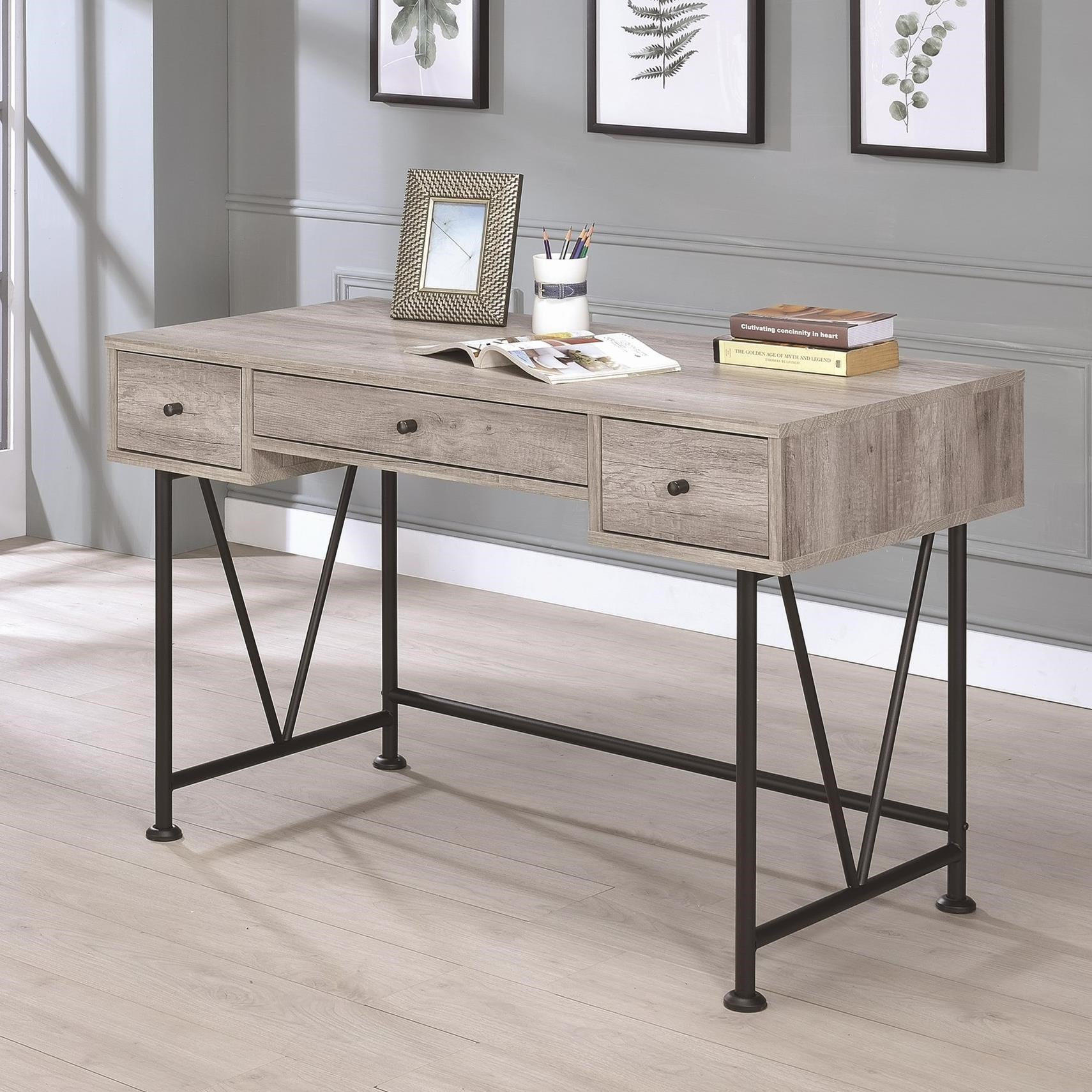 Coaster guthrie industrial style writing desk with 3 for Guthrie dining