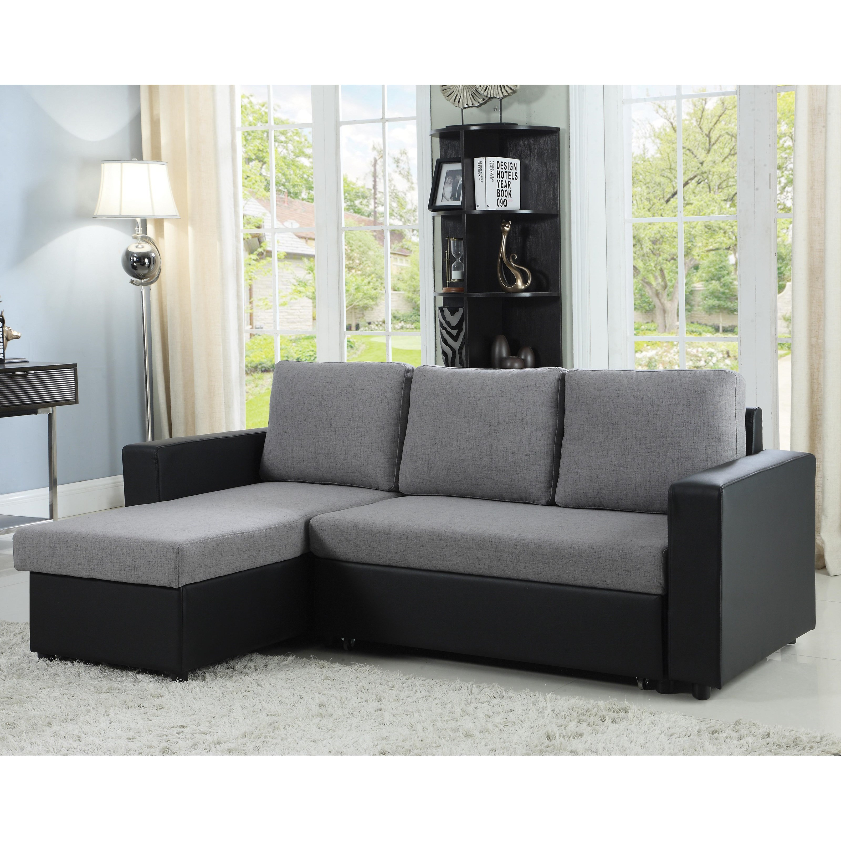 coaster baylor 503929 sectional sofa with chaise and sleeper dunk bright furniture. Black Bedroom Furniture Sets. Home Design Ideas