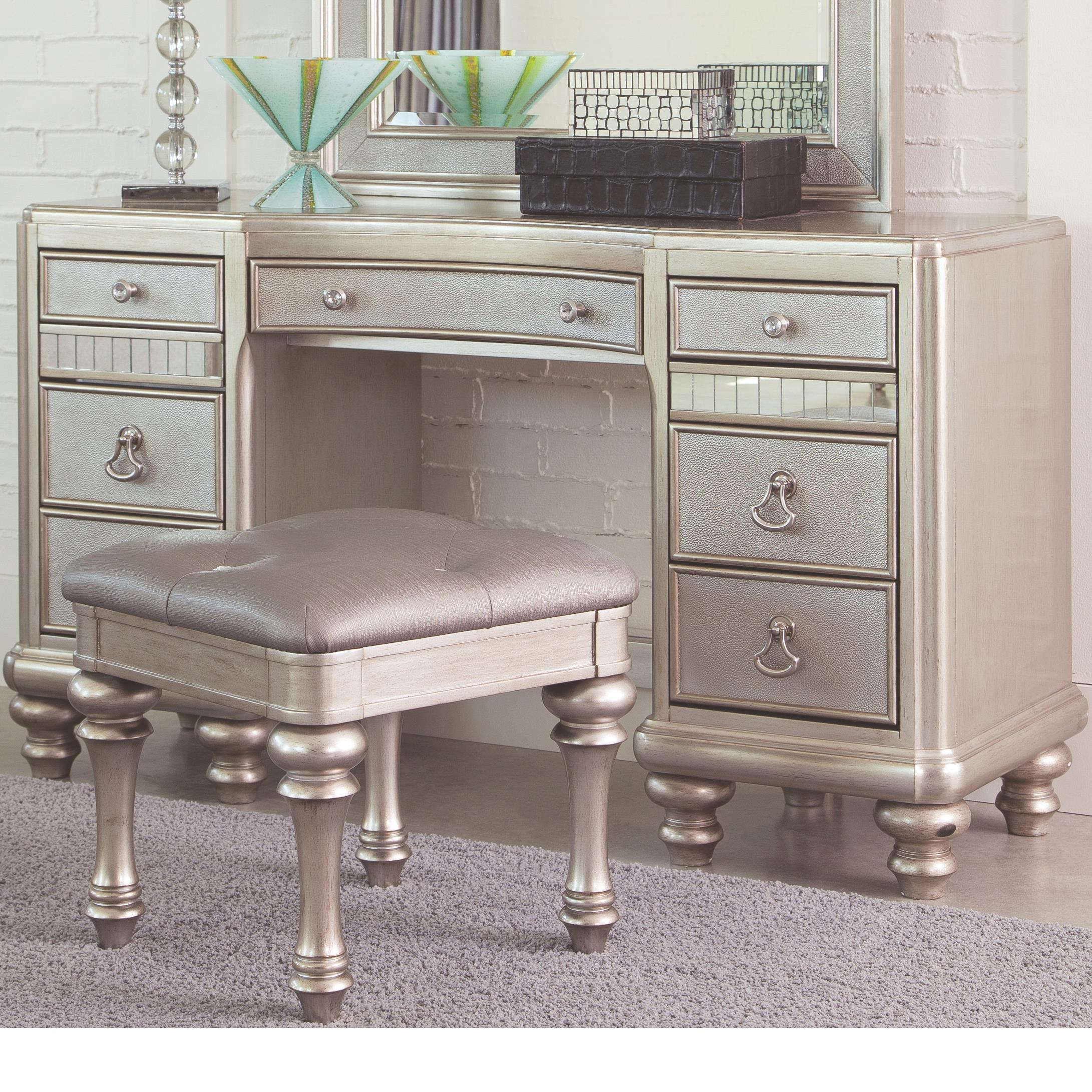 Coaster Bling Game 204187 Vanity Desk With 7 Drawers And Stacked Bun Feet Del Sol Furniture