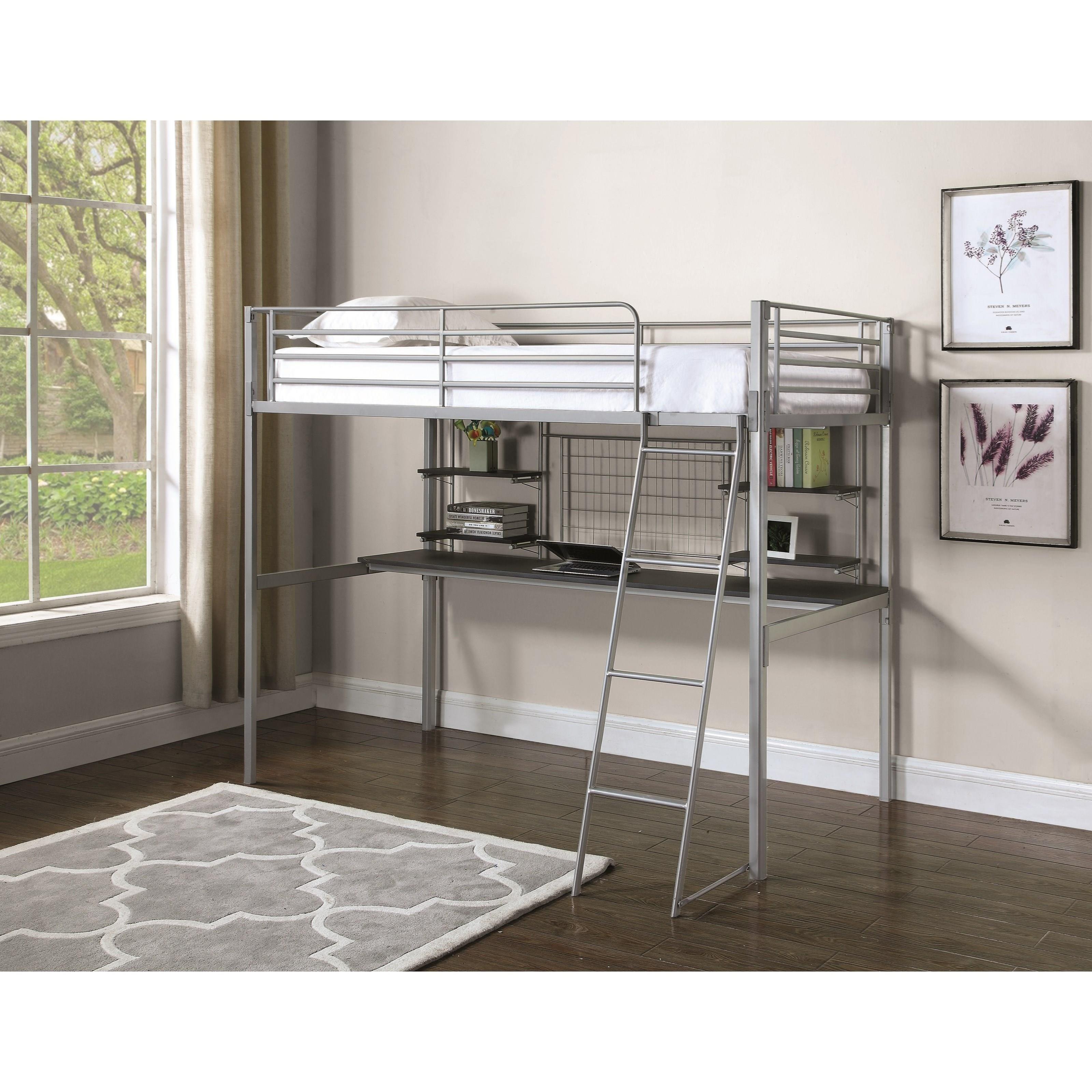 Coaster boltzero 460474t contemporary twin loft bunk bed for Loft net bed