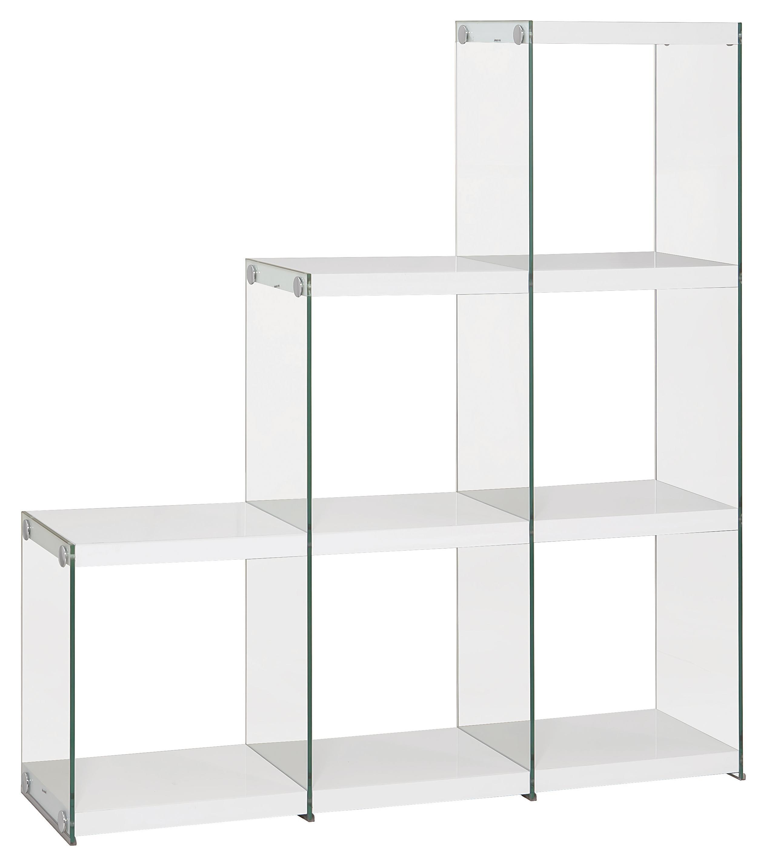 Coaster Bookcases 801261 Glossy White Bookcase With Glass