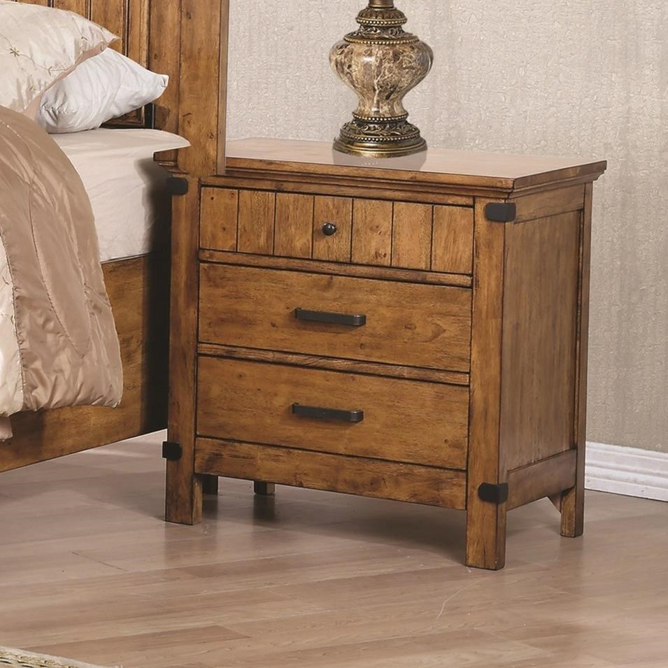 coaster brenner 205262 3 drawer night stand with felt