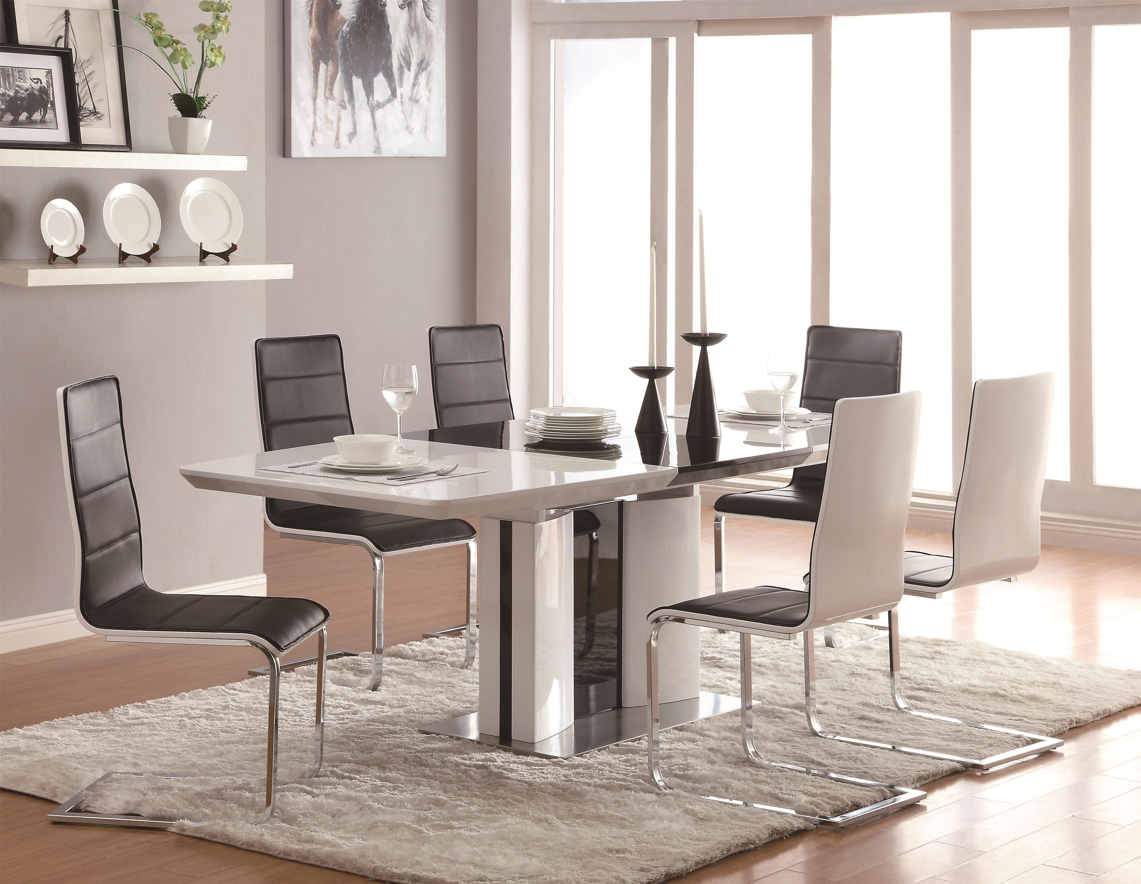 coaster broderick contemporary 7 piece white dining table set with upholstered dining chairs and. Black Bedroom Furniture Sets. Home Design Ideas
