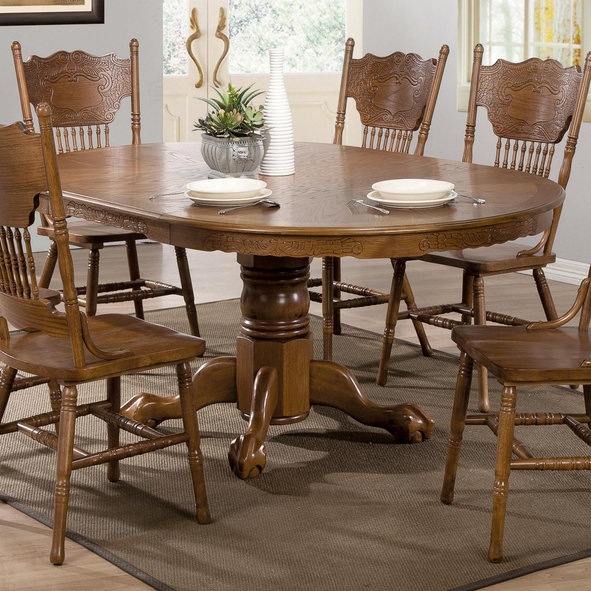 Coaster brooks 104270 oak finish round oval dining table for Fancy round dining table