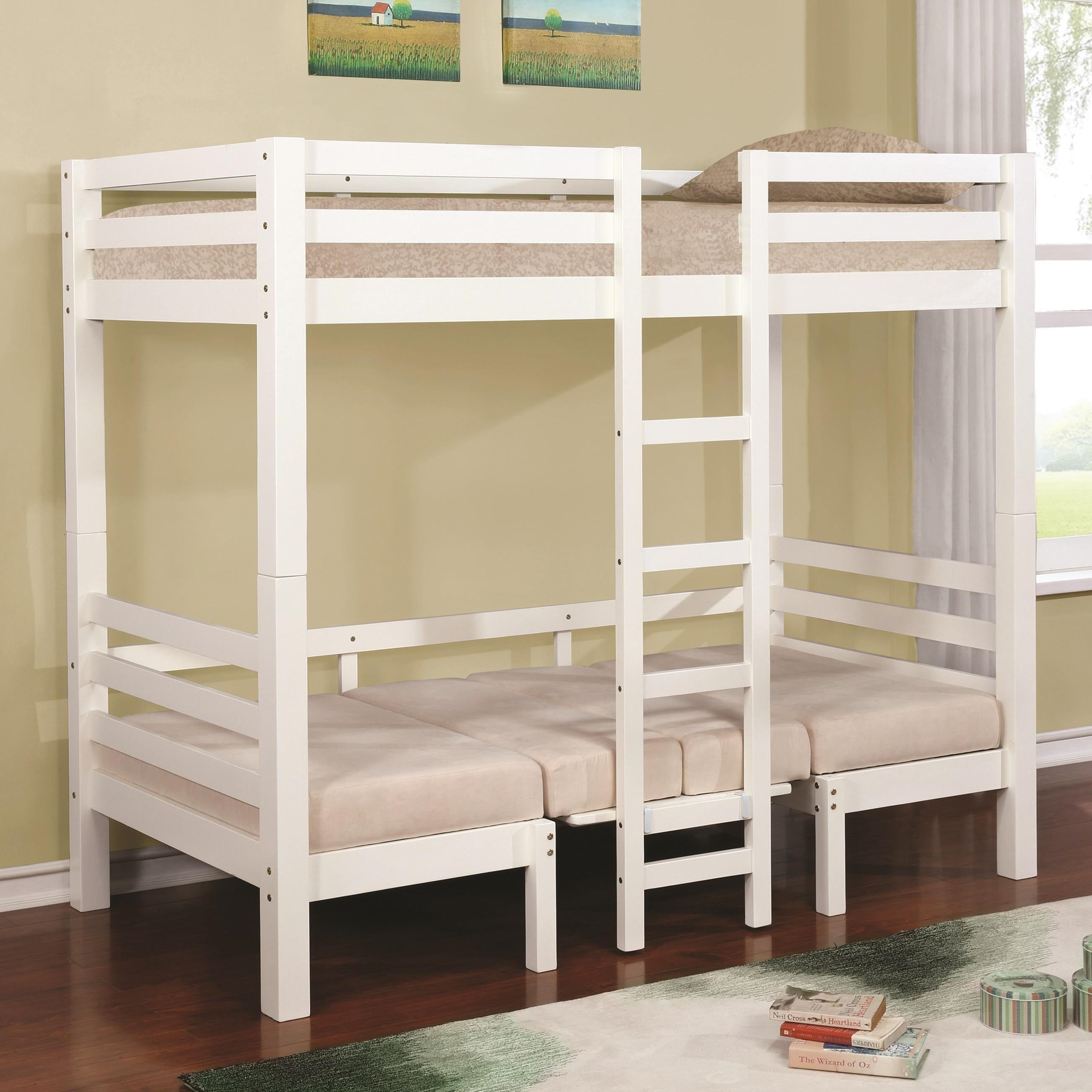 Coaster bunks twin over twin convertible loft bed value for Loft net bed