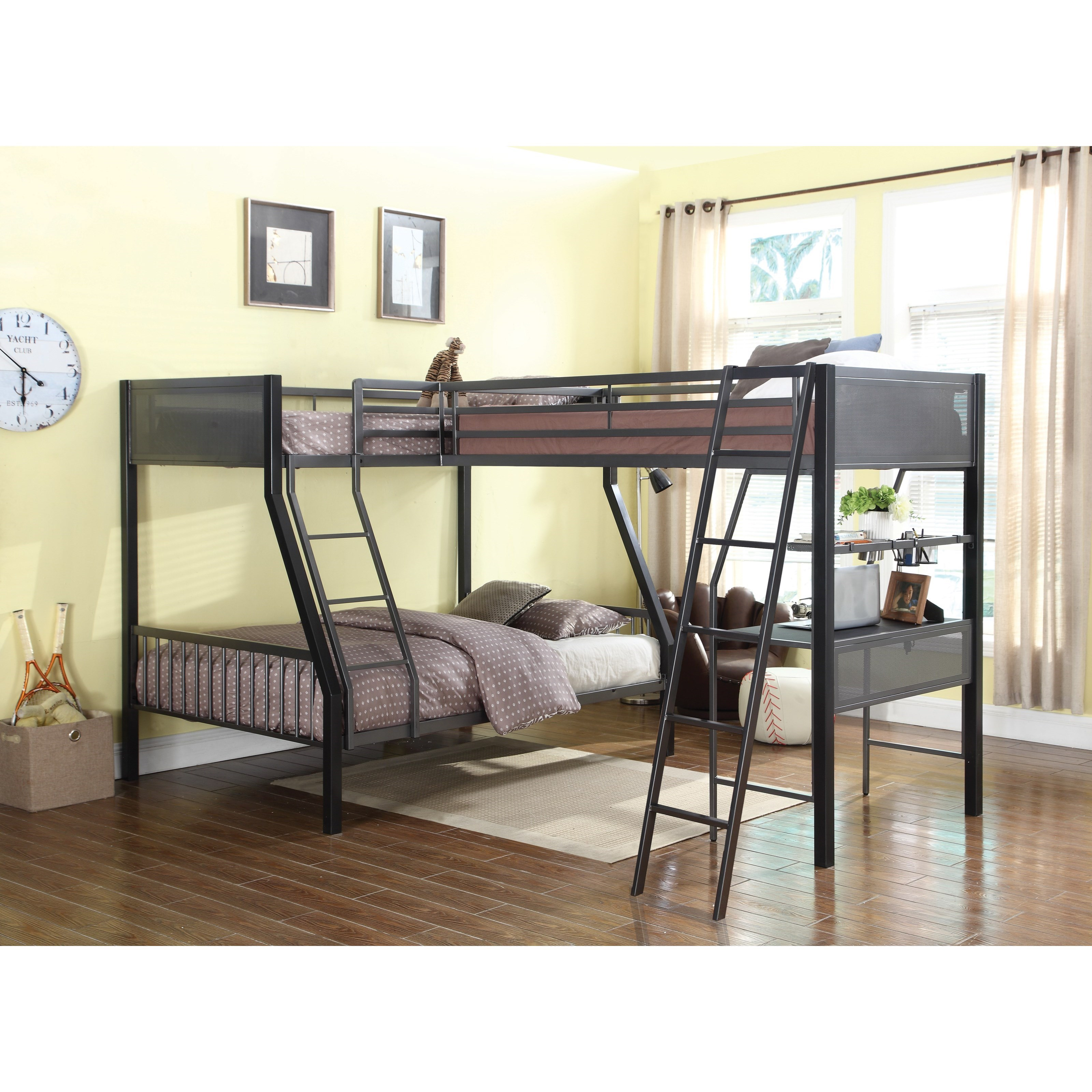 Coaster bunks metal twin over full loft bunk bed with loft for Loft net bed
