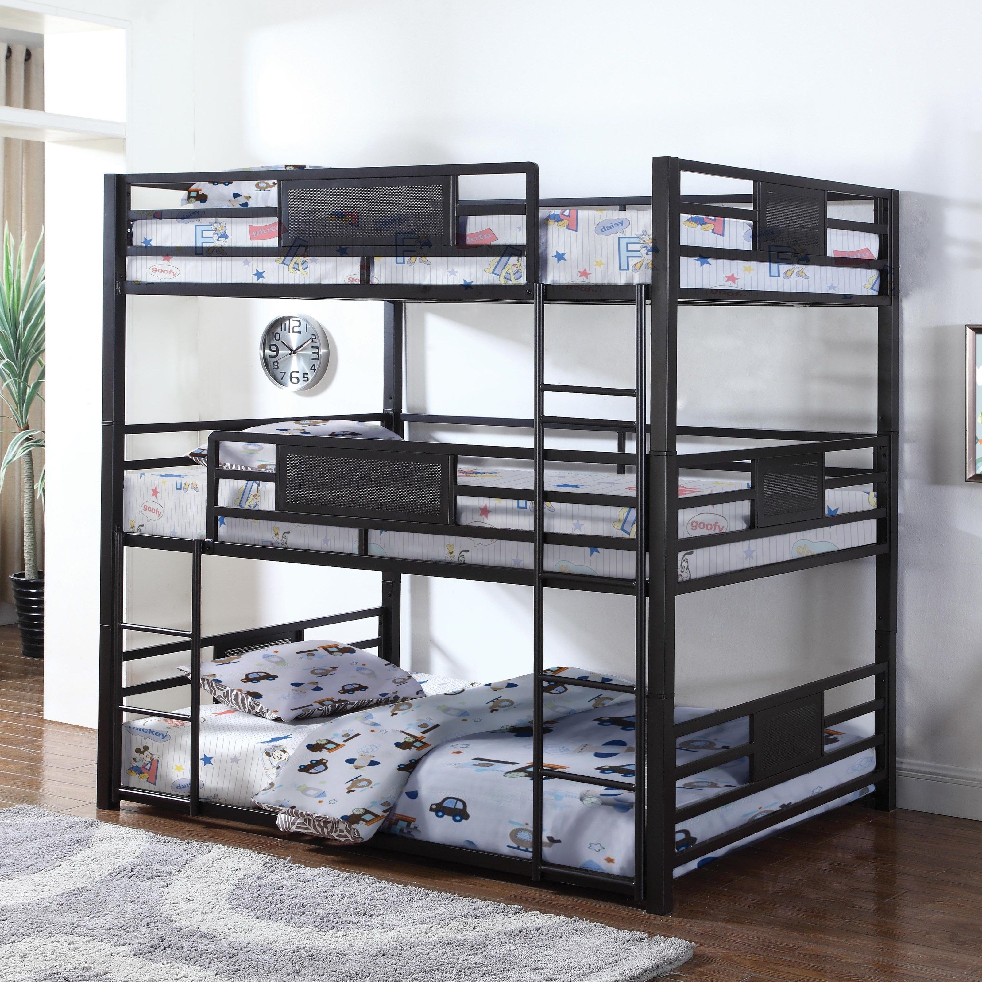 Coaster Bunks 460394f Metal Full Triple Bunk Dunk Bright Furniture Bunk Beds