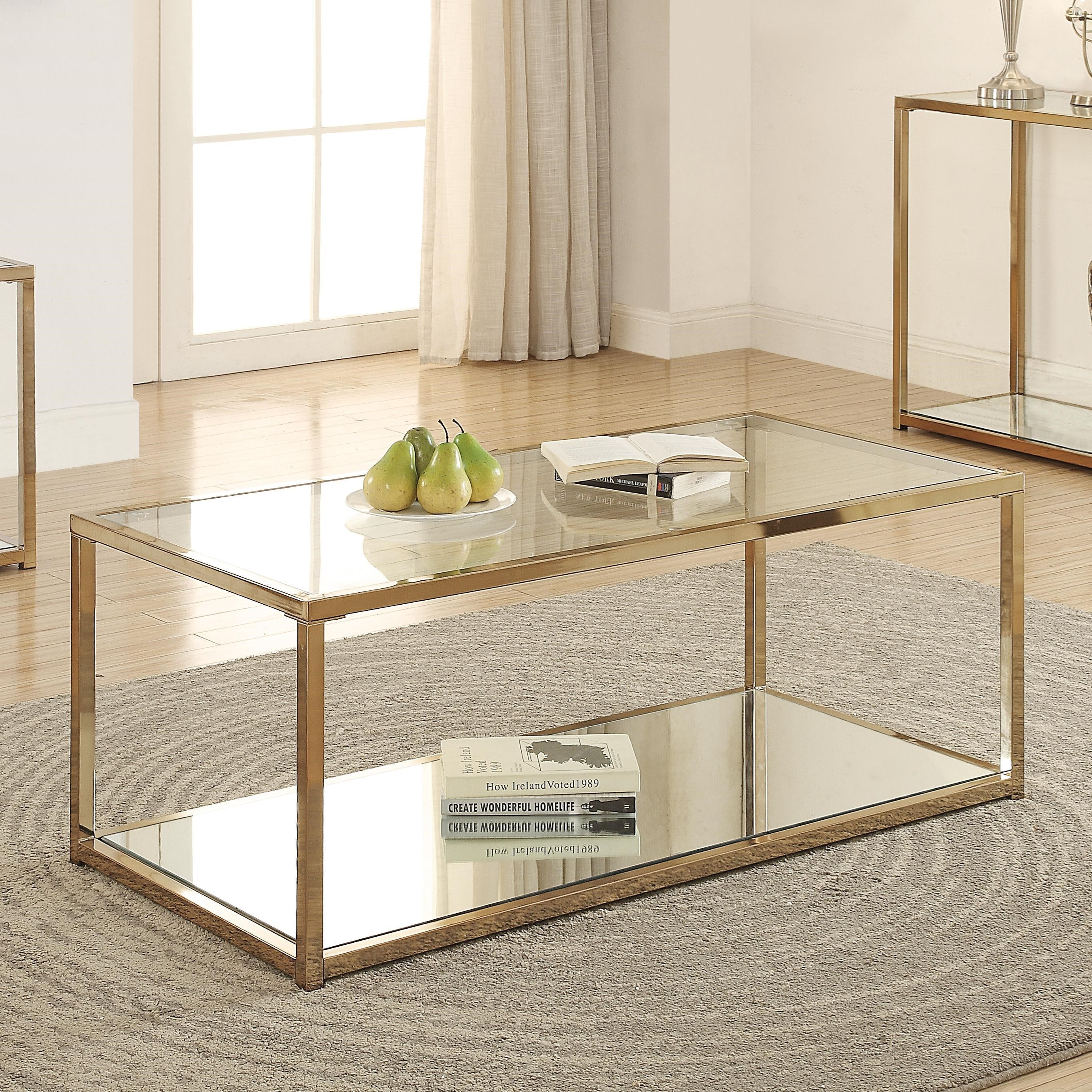 coaster calantha 705238 coffee table with mirror shelf del sol furniture cocktail coffee tables. Black Bedroom Furniture Sets. Home Design Ideas