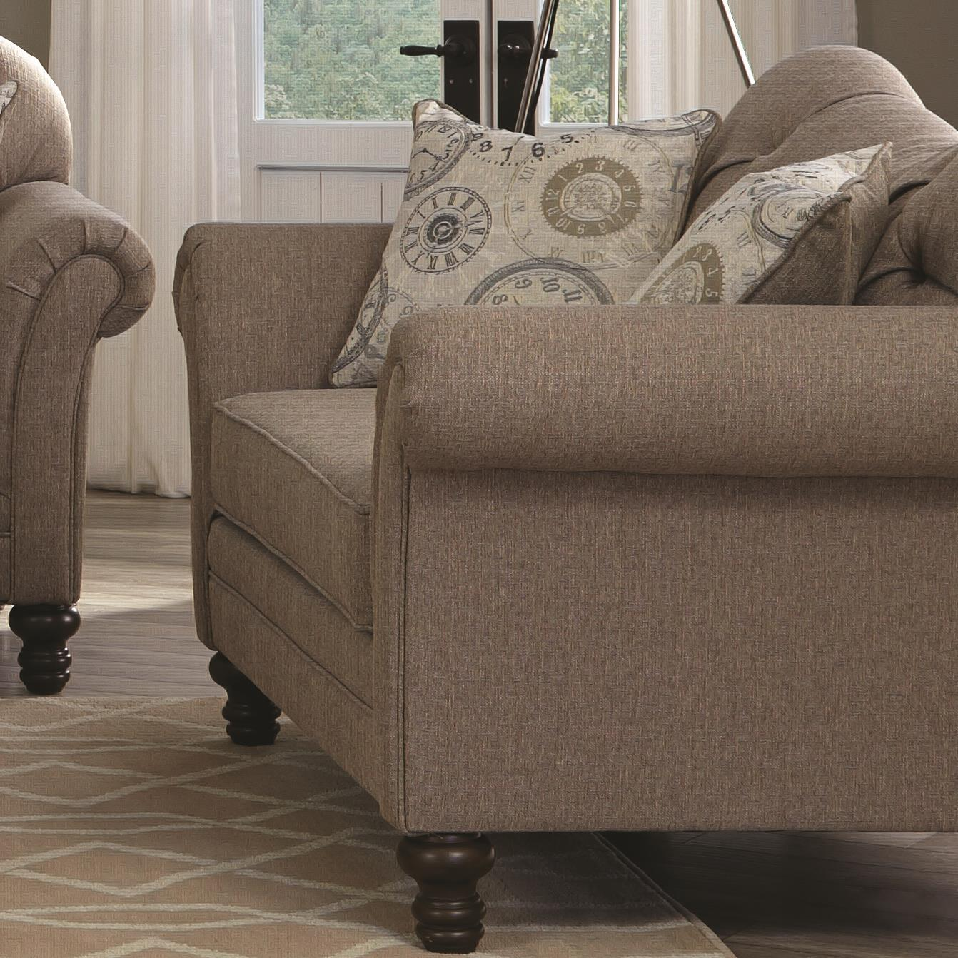 Coaster carnahan traditional loveseat with turned legs and for Traditional sofas with legs