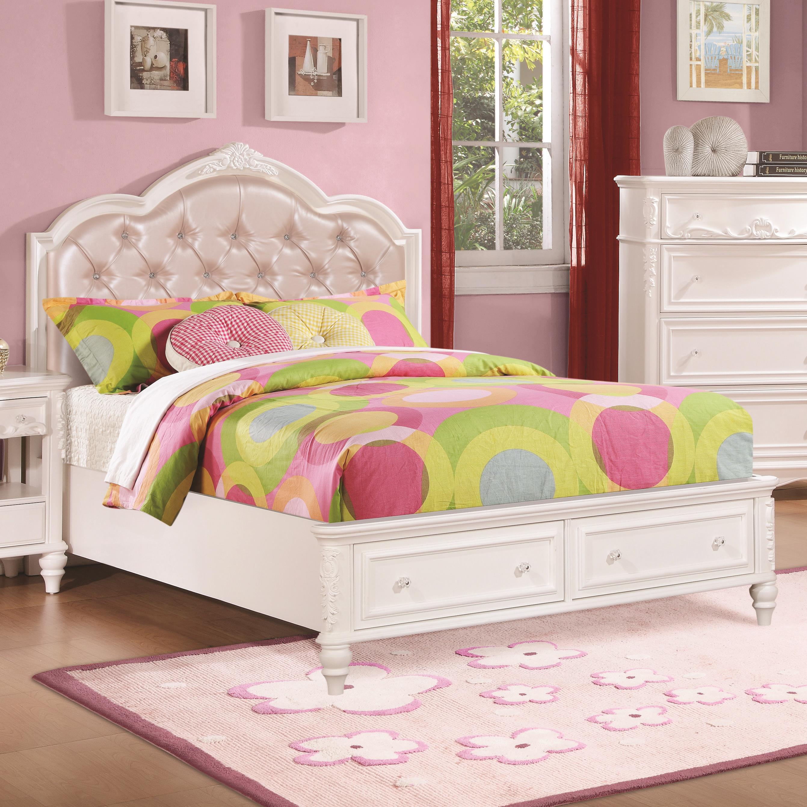 coaster caroline 400721f full size storage bed with diamond tufted headboard dunk bright. Black Bedroom Furniture Sets. Home Design Ideas