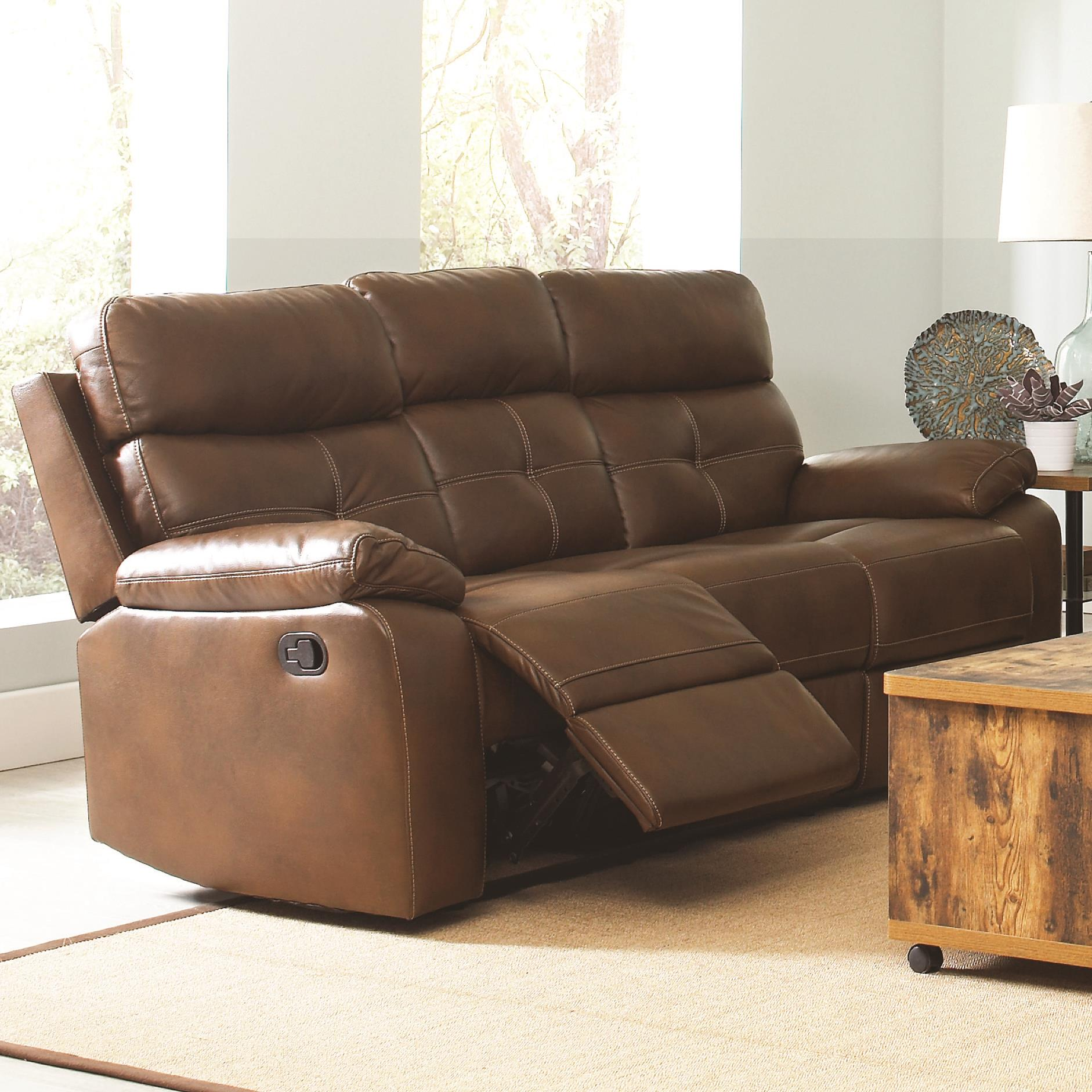 Coaster damiano 601691 casual faux leather reclining sofa with button tuft detailing dunk for Faux leather living room furniture