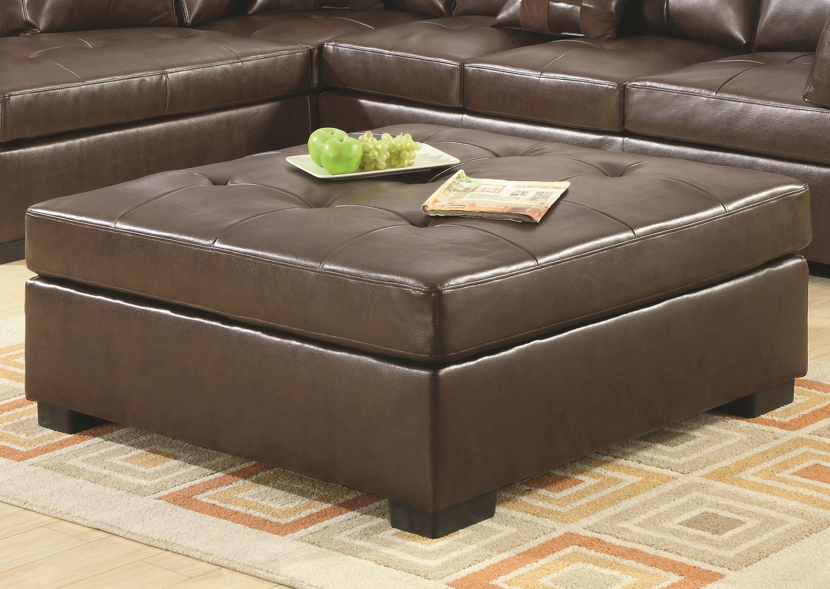 coaster darie 500687 leather cocktail ottoman with tufting del sol furniture ottoman. Black Bedroom Furniture Sets. Home Design Ideas