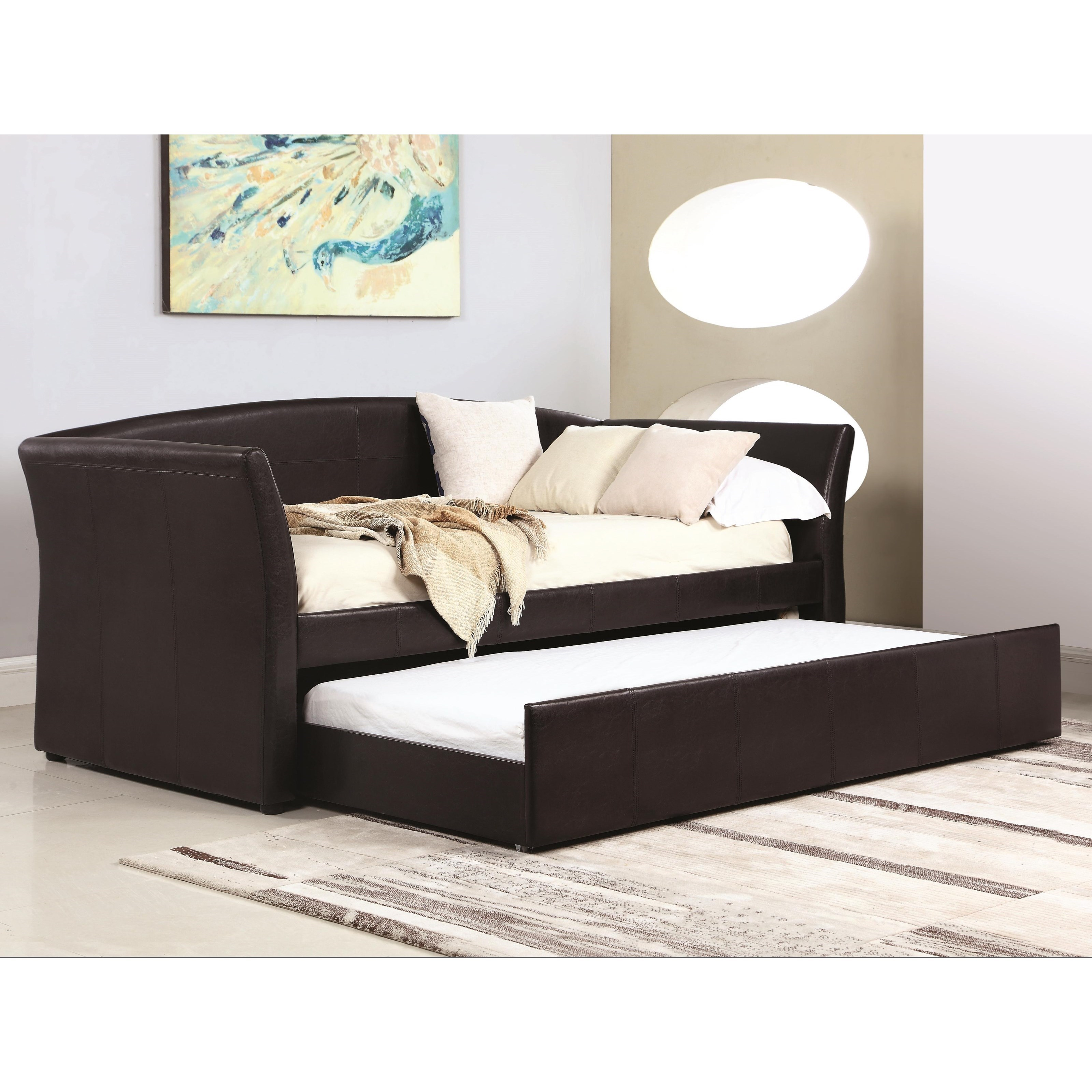 coaster daybeds by coaster upholstered daybed with trundle rife 39 s home furniture daybeds. Black Bedroom Furniture Sets. Home Design Ideas