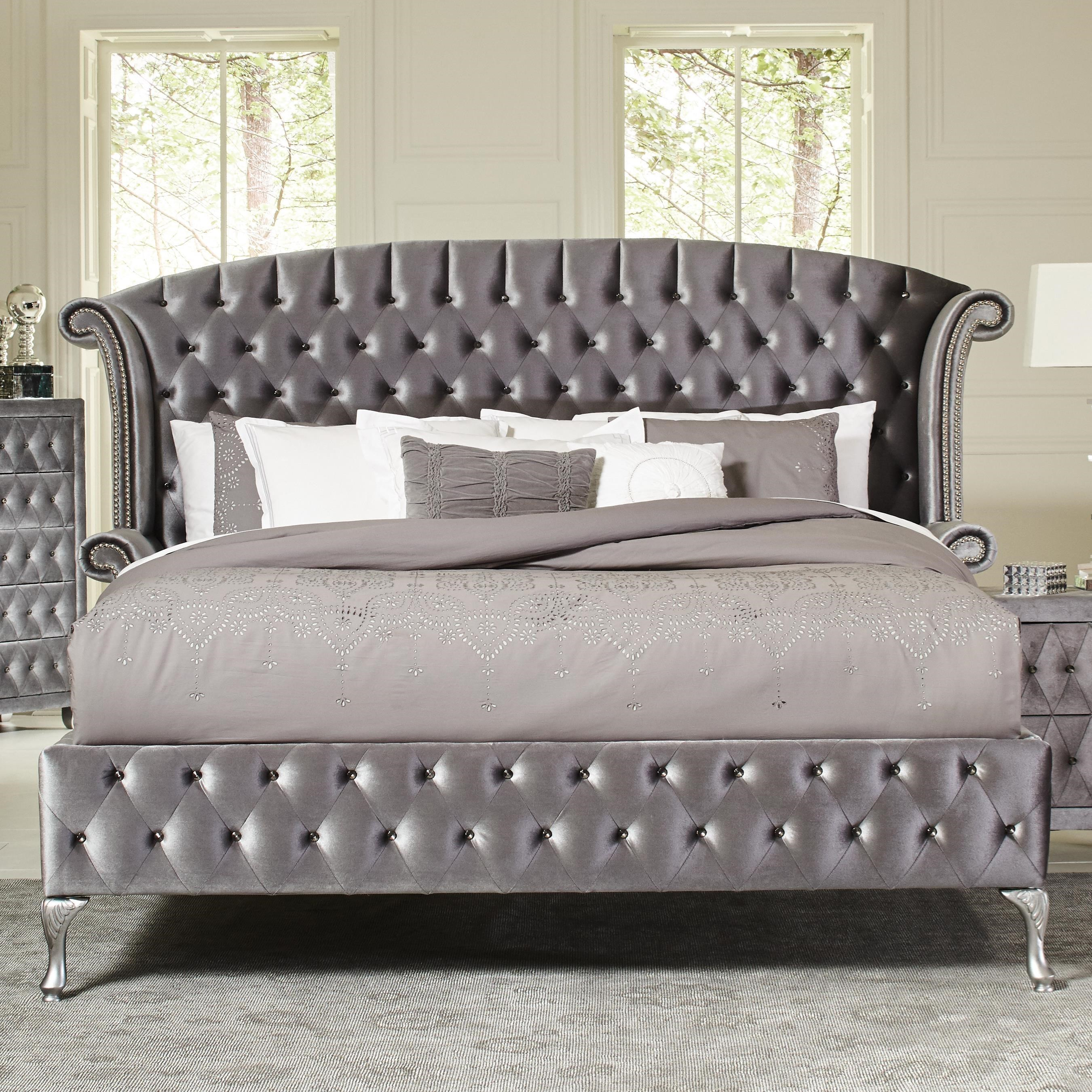 Coaster Deanna Upholstered Queen Bed with Nailhead Trim