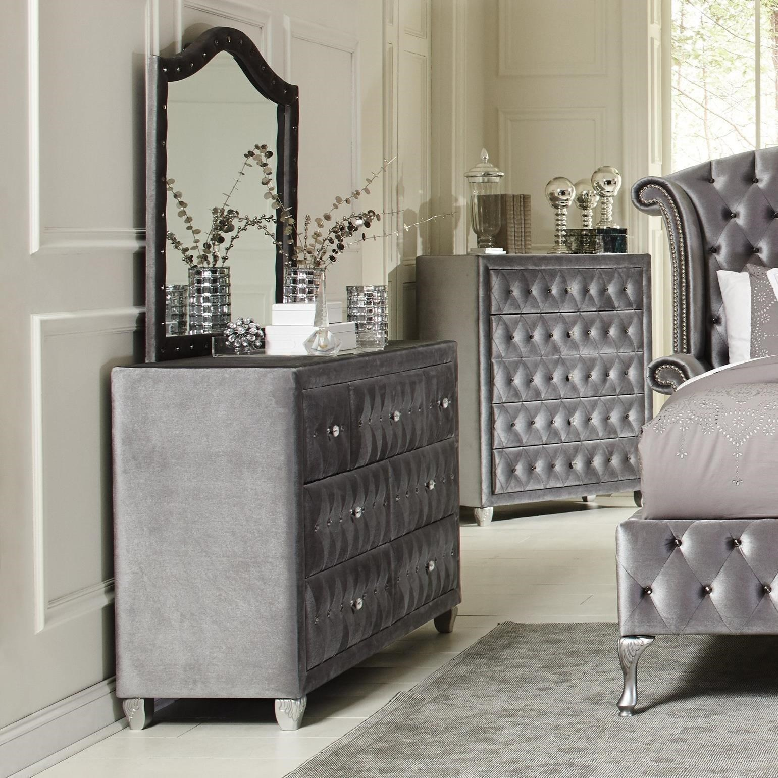 Coaster Deanna Upholstered Dresser With Six Drawers And Faceted Buttons Rife 39 S Home Furniture