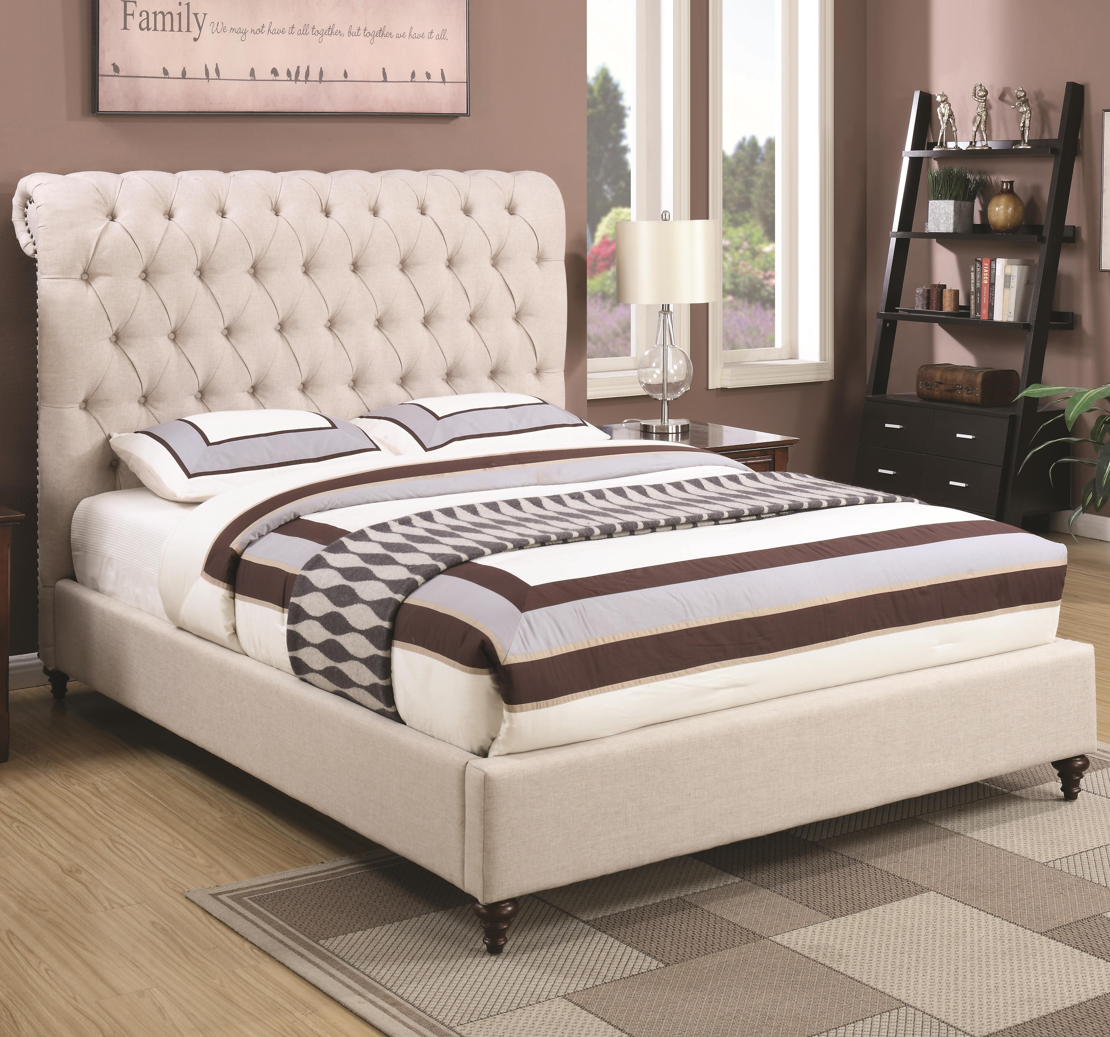 Coaster devon 300525q queen upholstered bed in beige fabric dunk bright furniture for Bedroom sets with upholstered headboards