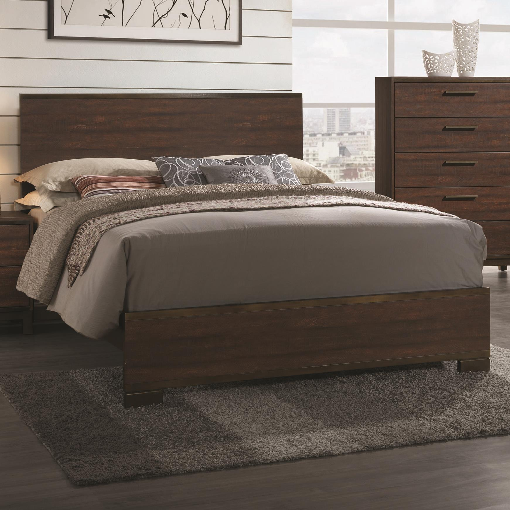 coaster edmonton queen bed with wood headboard value city furniture platform beds low. Black Bedroom Furniture Sets. Home Design Ideas