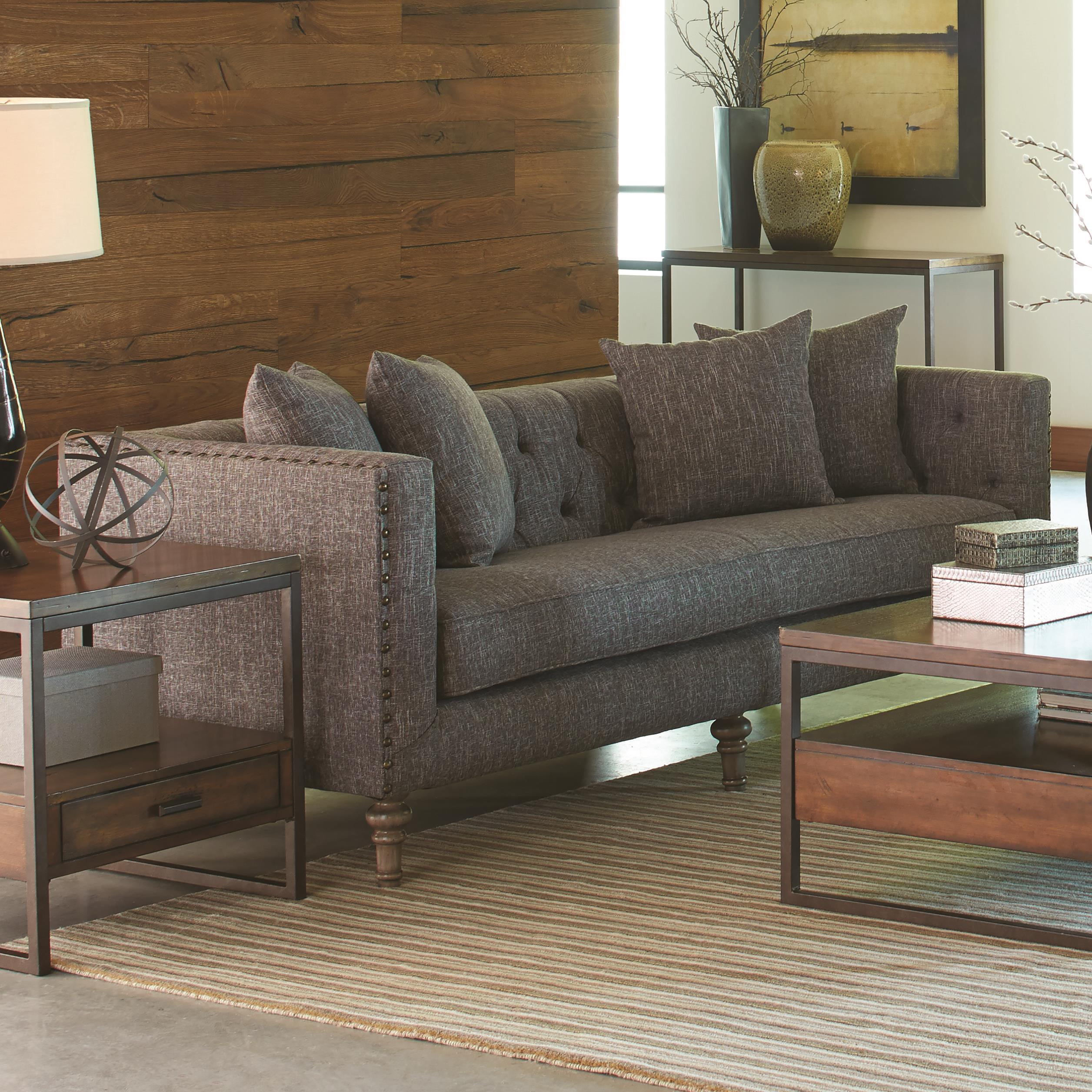 Coaster ellery 505771 sofa with traditional industrial for Industrial couch