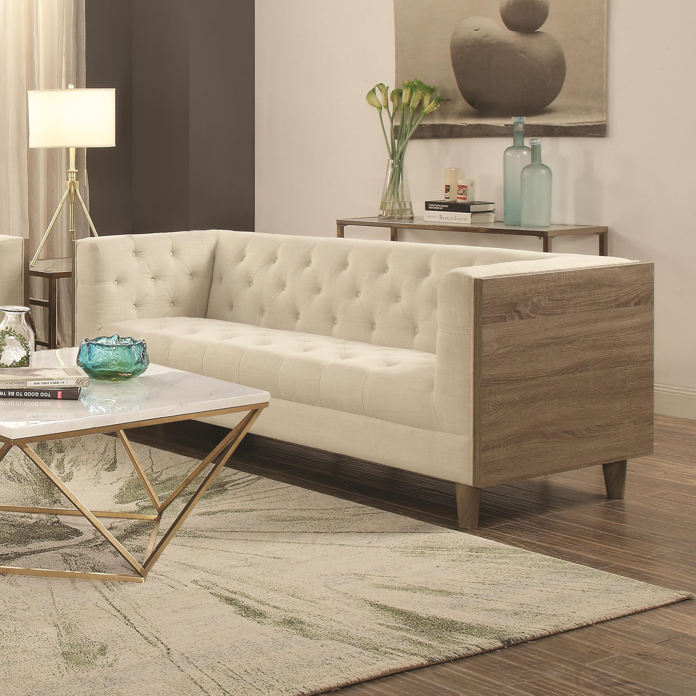 coaster fairbanks tuxedo sofa with button tufting and weathered wood value city furniture sofas