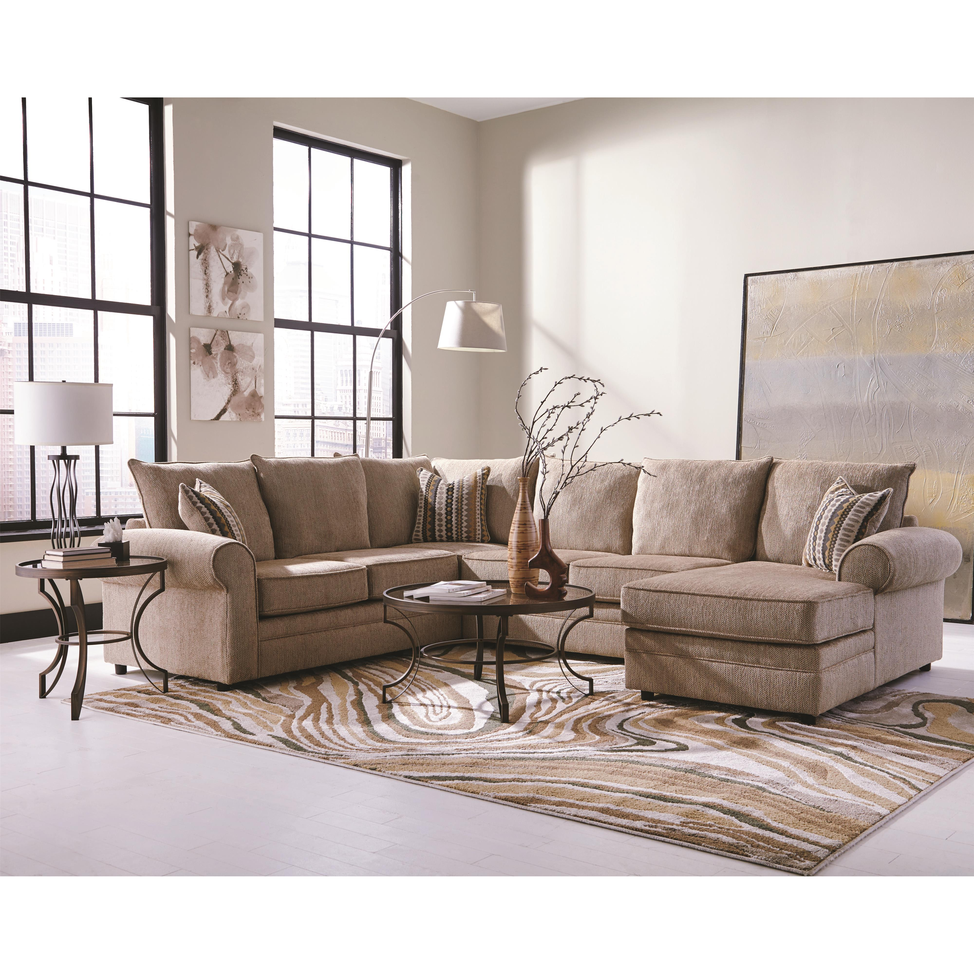 Greatest Coaster Fairhaven Cream Colored U-Shaped Sectional with Chaise  HG89