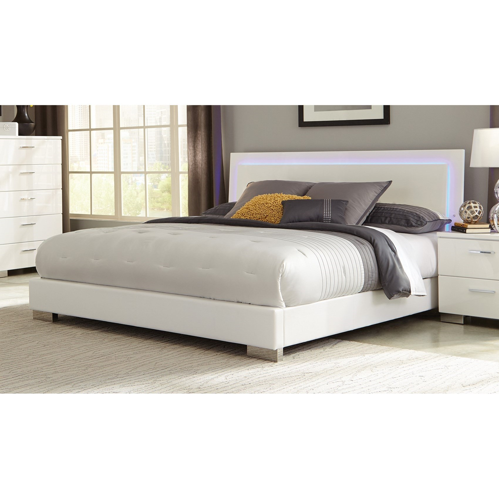 Coaster felicity 203500q queen low profile bed with led for Lighted platform bed