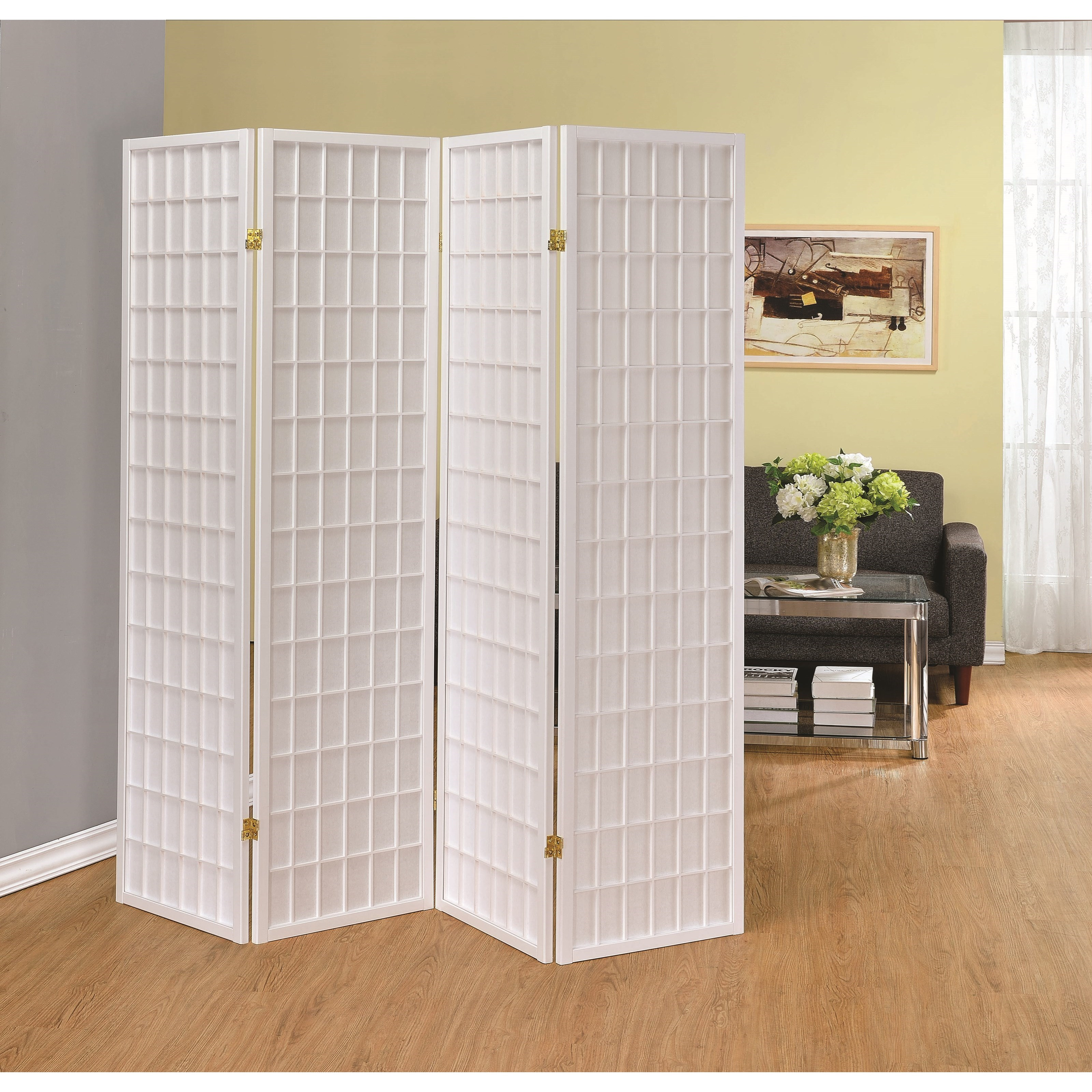 Coaster folding screens 902626 four panel white folding for Four panel room divider screen