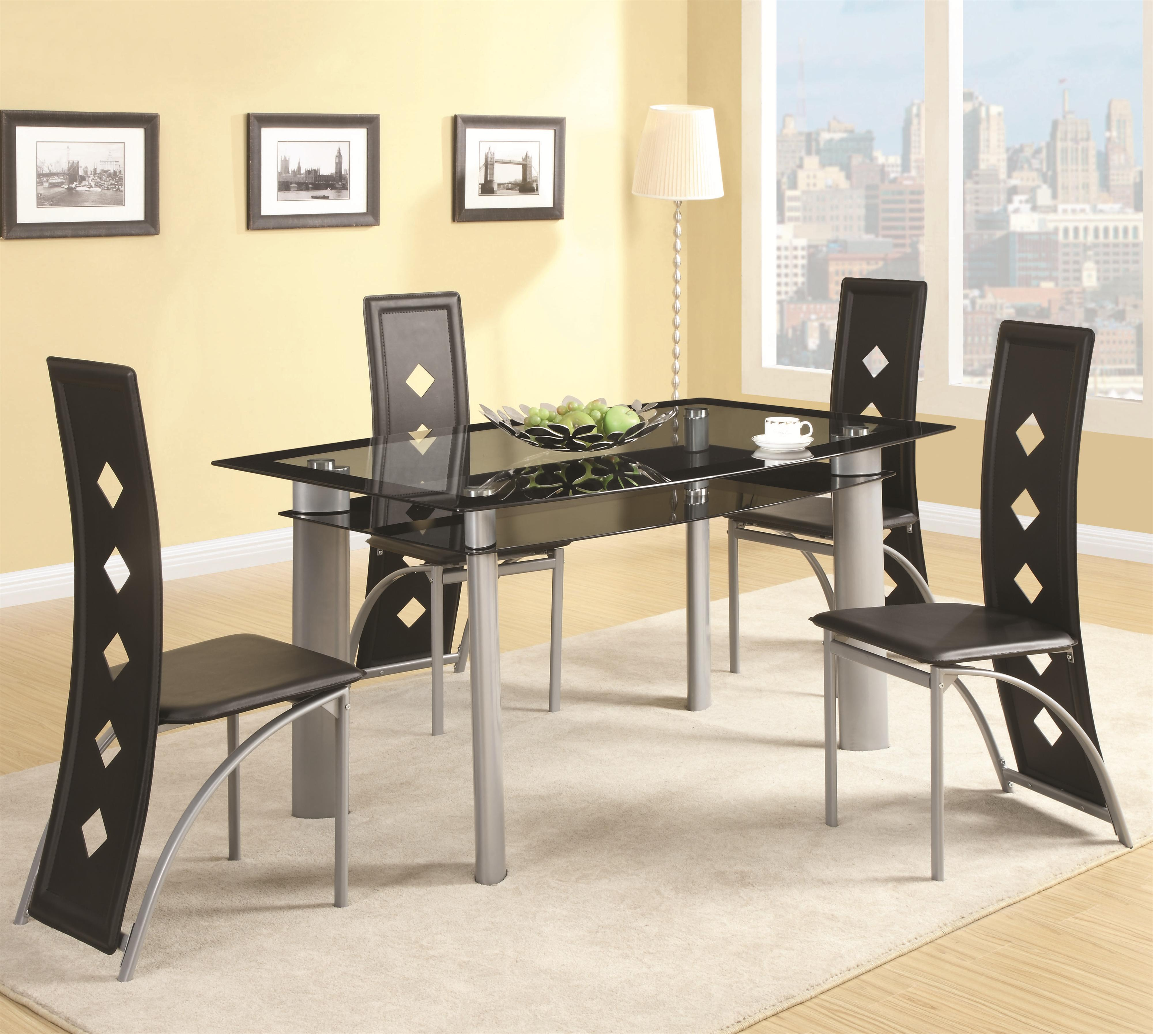 Coaster Fontana Glass Top Table With Vinyl Chair Set Dream Home Furniture Dining 5 Piece
