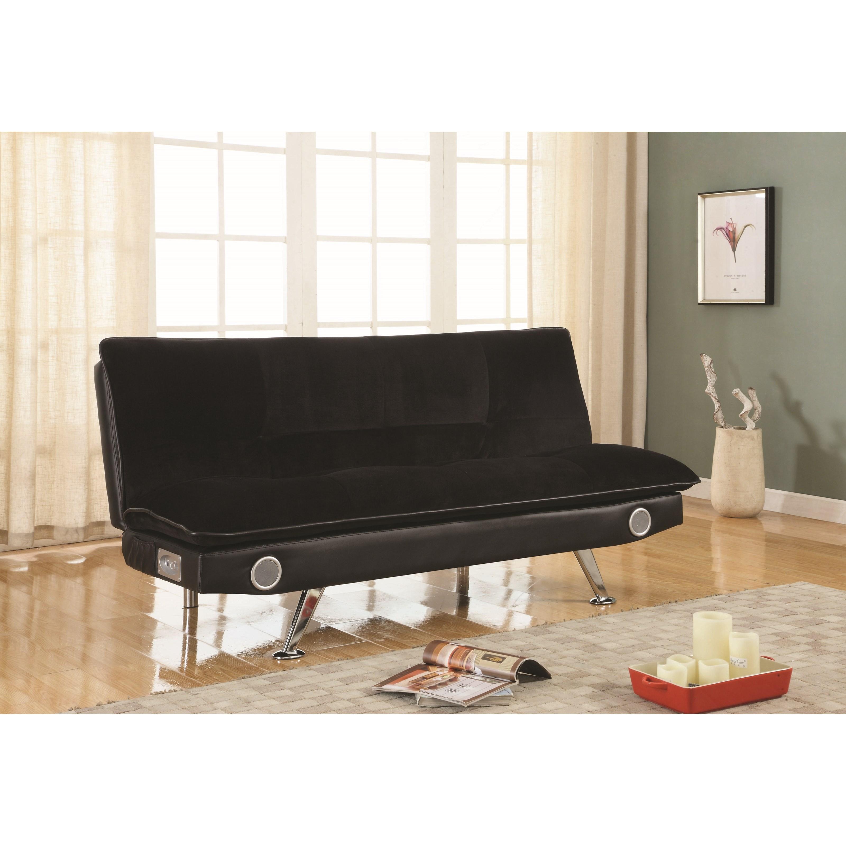 coaster futons 500187 black leatherette sofa bed with. Black Bedroom Furniture Sets. Home Design Ideas