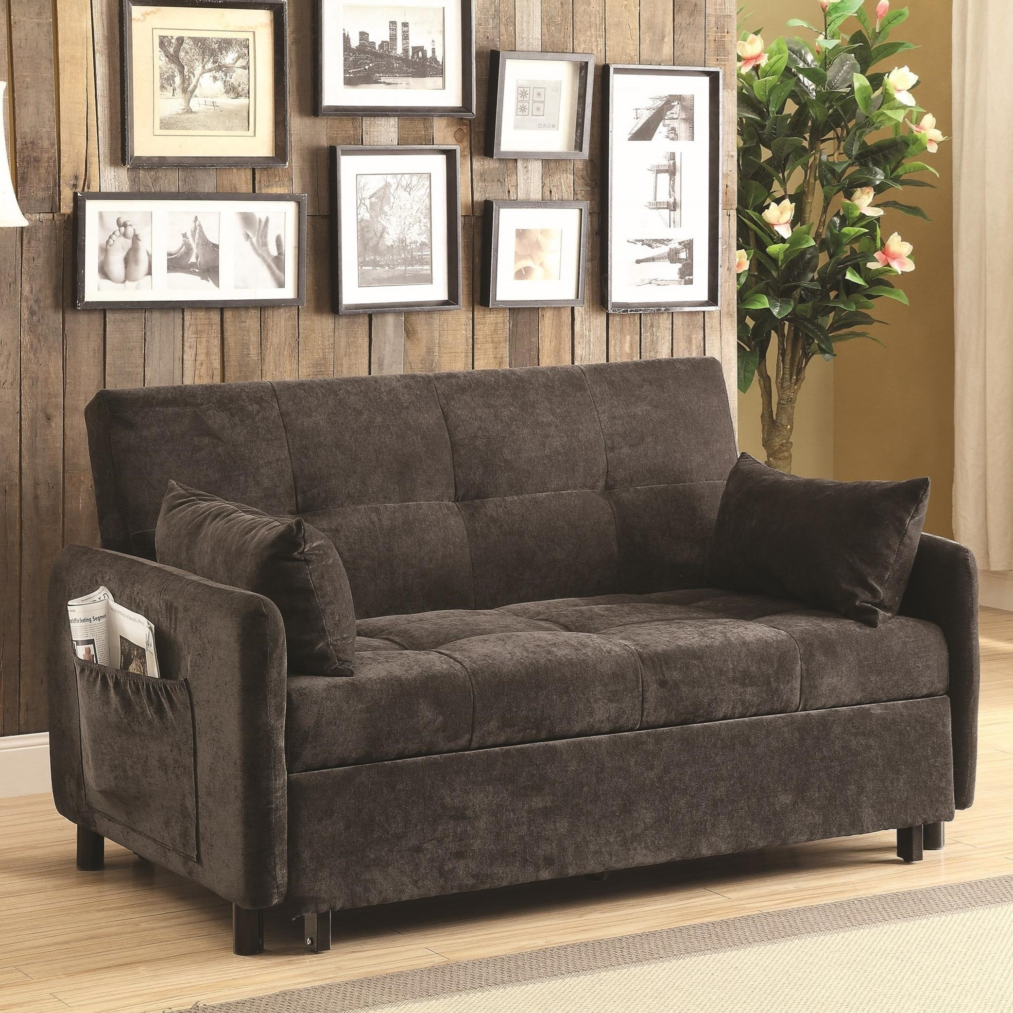coaster futons 551075 dark brown sofa bed dunk bright furniture futons. Black Bedroom Furniture Sets. Home Design Ideas