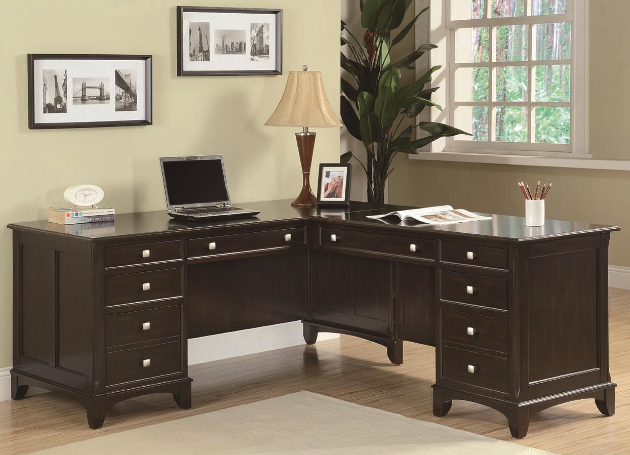 Coaster Garson L Shaped Desk With 8 Drawers Value City