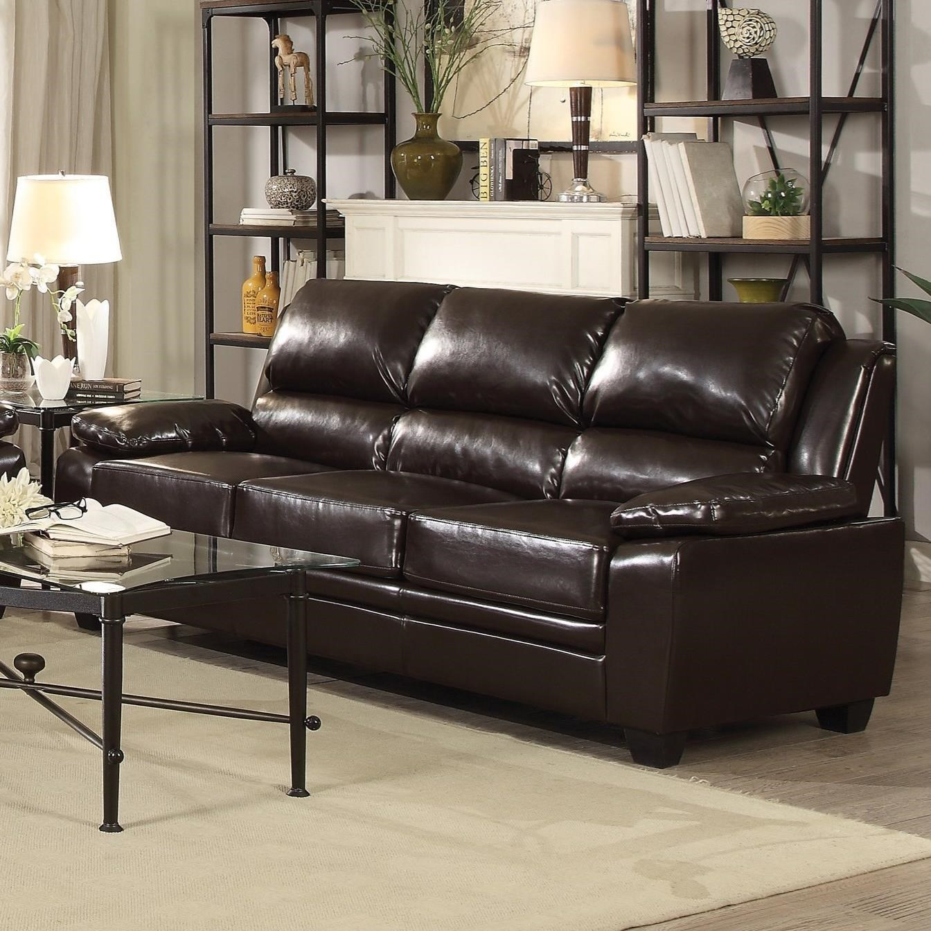 Coaster Gryffin Leatherette Sofa with Pillow Arms Dream