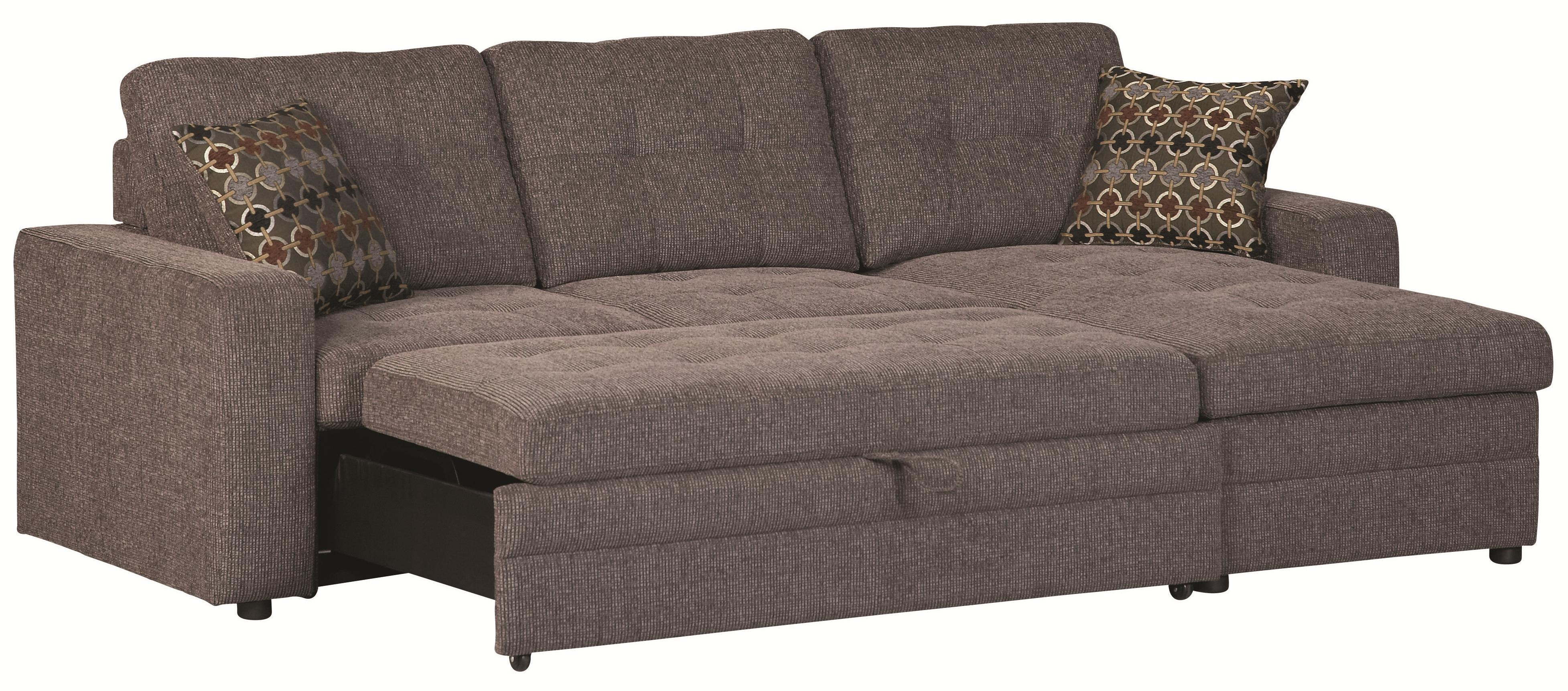 Coaster gus 501677 sectional sofa with tufts storage and for Gus sectional sofa with tufts storage and pull out bed