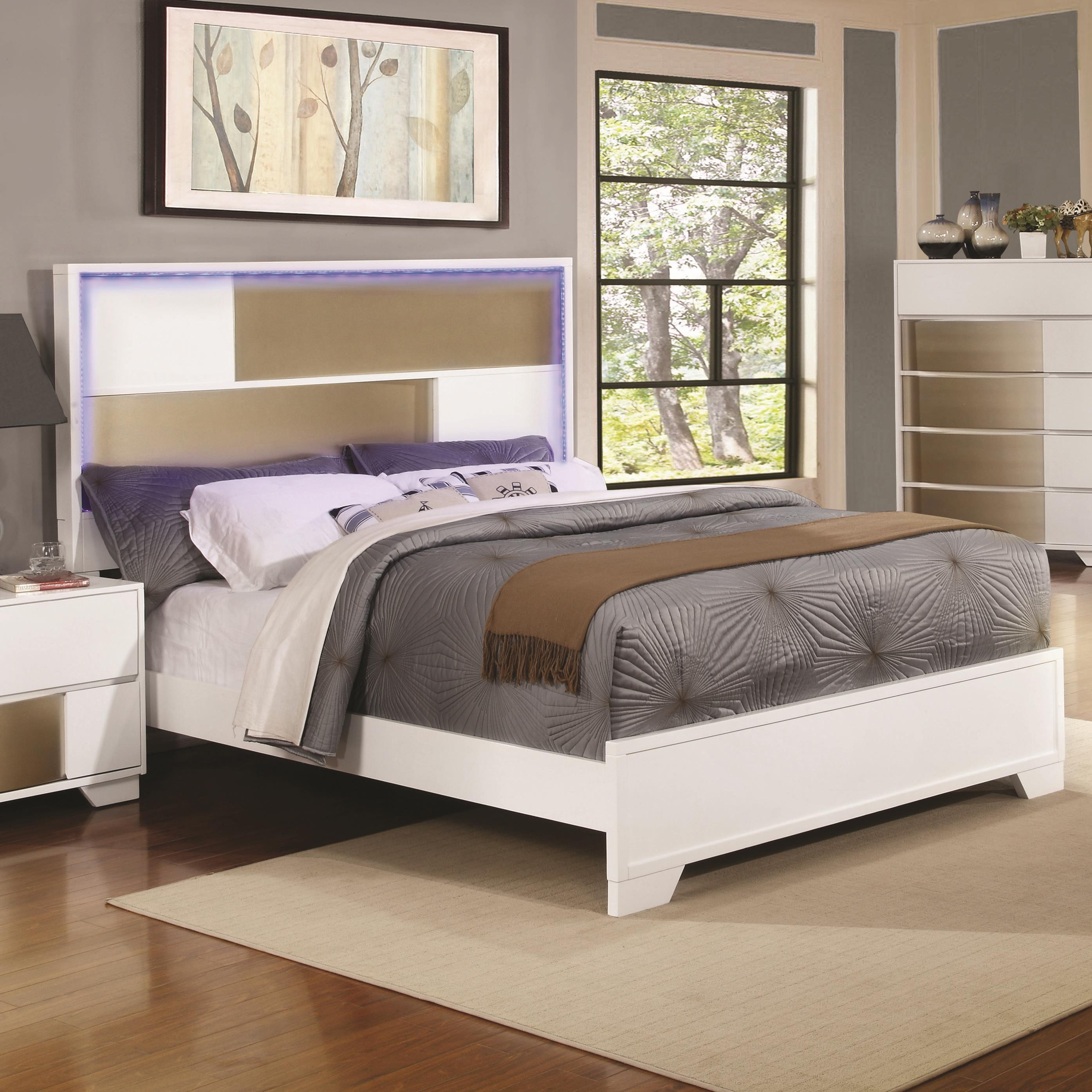 Coaster havering 204741q queen bed with led lighted for Lighted platform bed