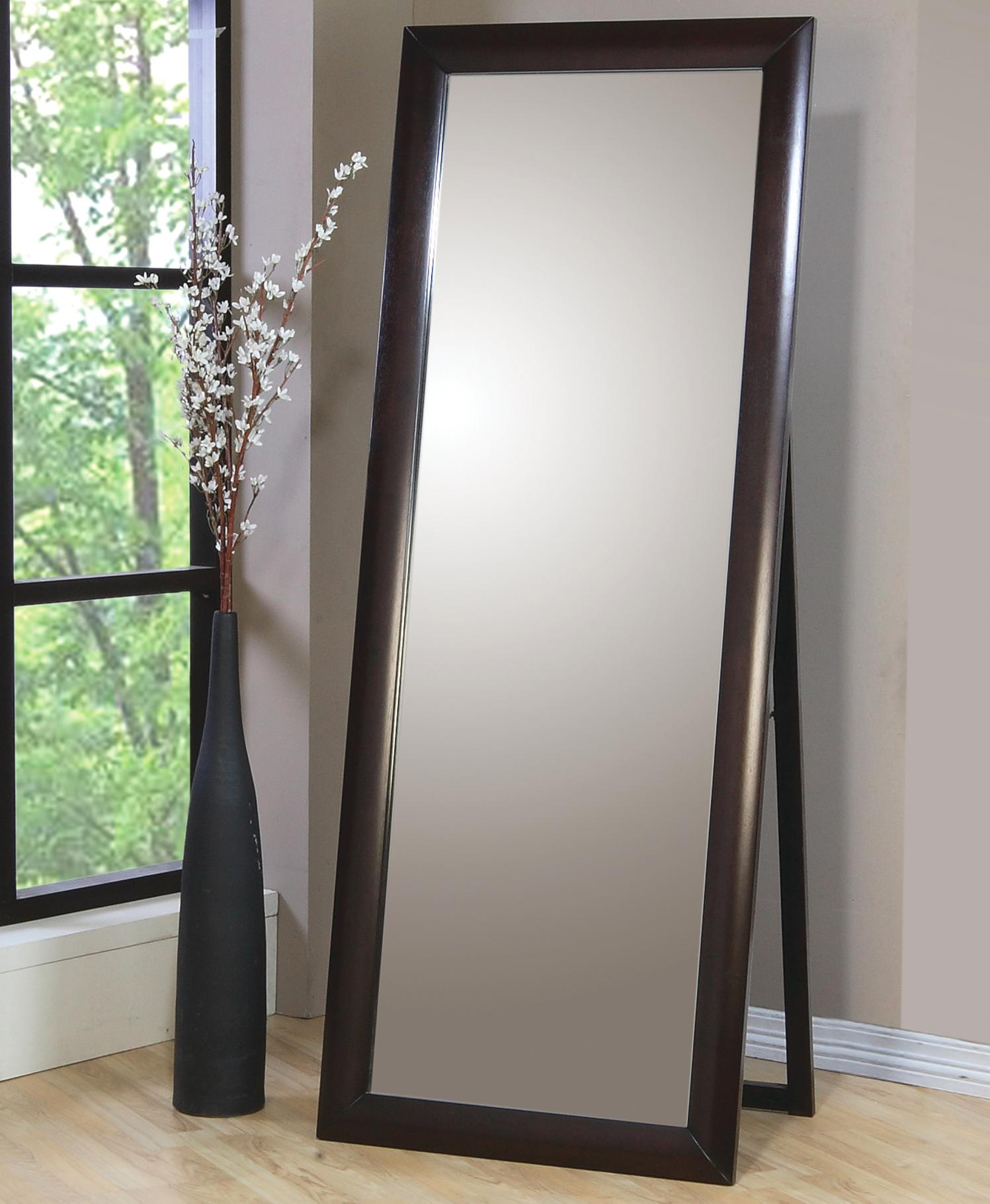 Contemporary standing floor mirror phoenix by coaster for Stand up mirror
