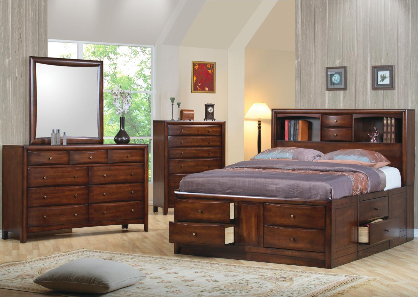 Coaster hillary and scottsdale contemporary queen bookcase bed with underbed storage drawers Queen bedroom sets with underbed storage