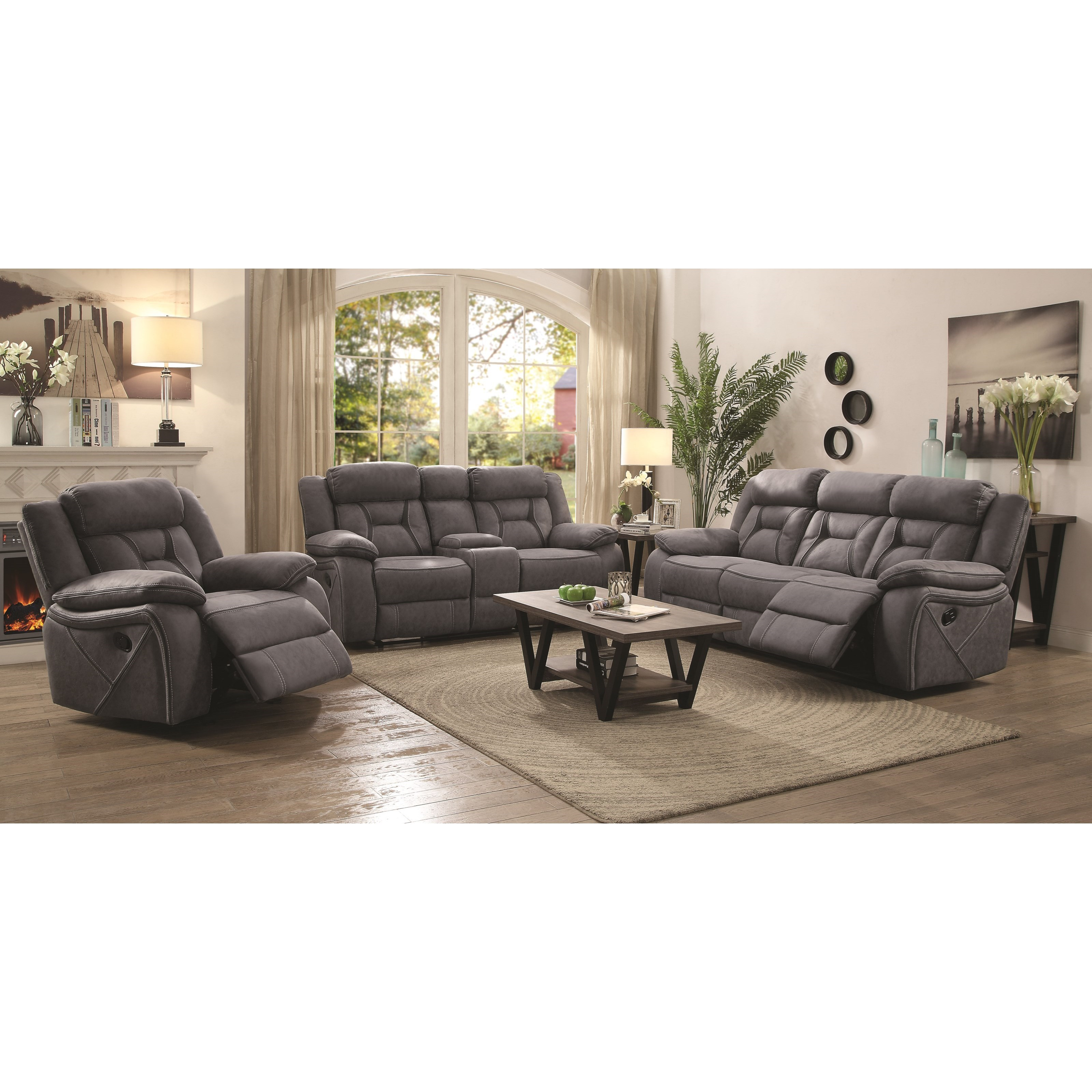 Coaster houston reclining living room group miskelly for Living room furniture groups