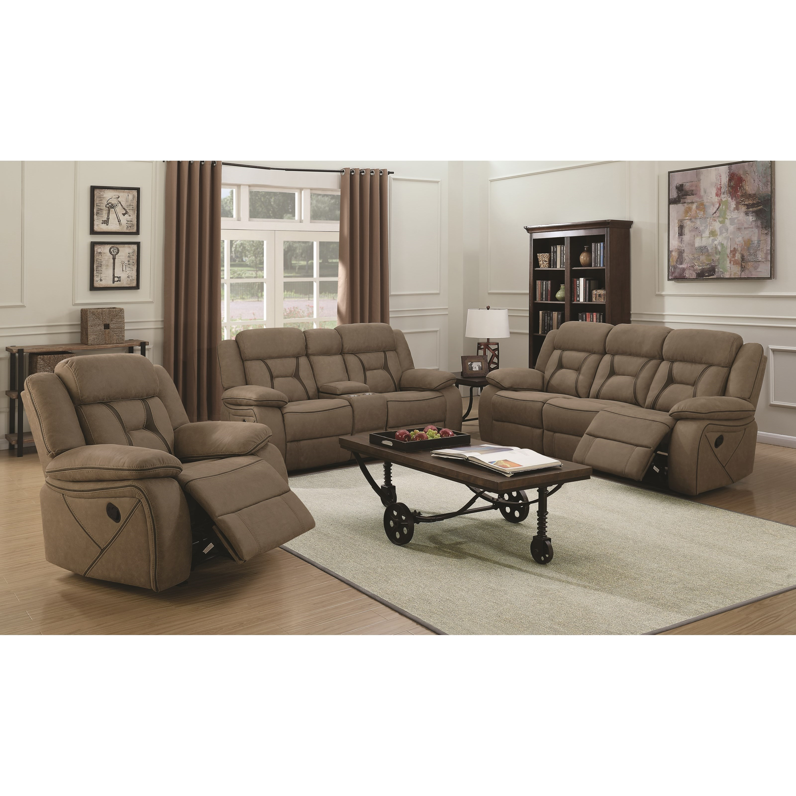 Coaster houston reclining living room group value city for Living room furniture groups