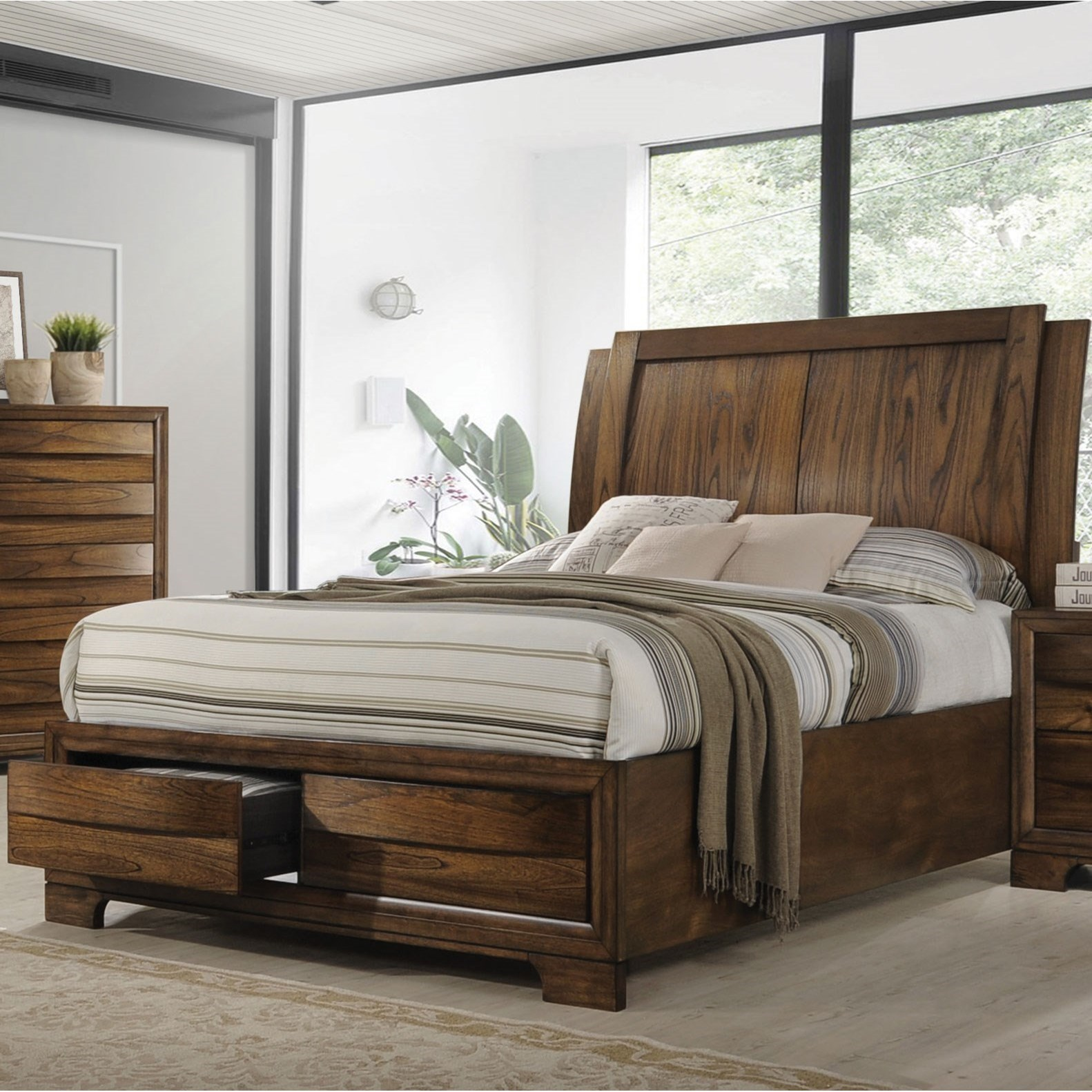 Coaster Hunter Queen Platform Bed With Storage Footboard Rife 39 S Home Furniture Platform Beds